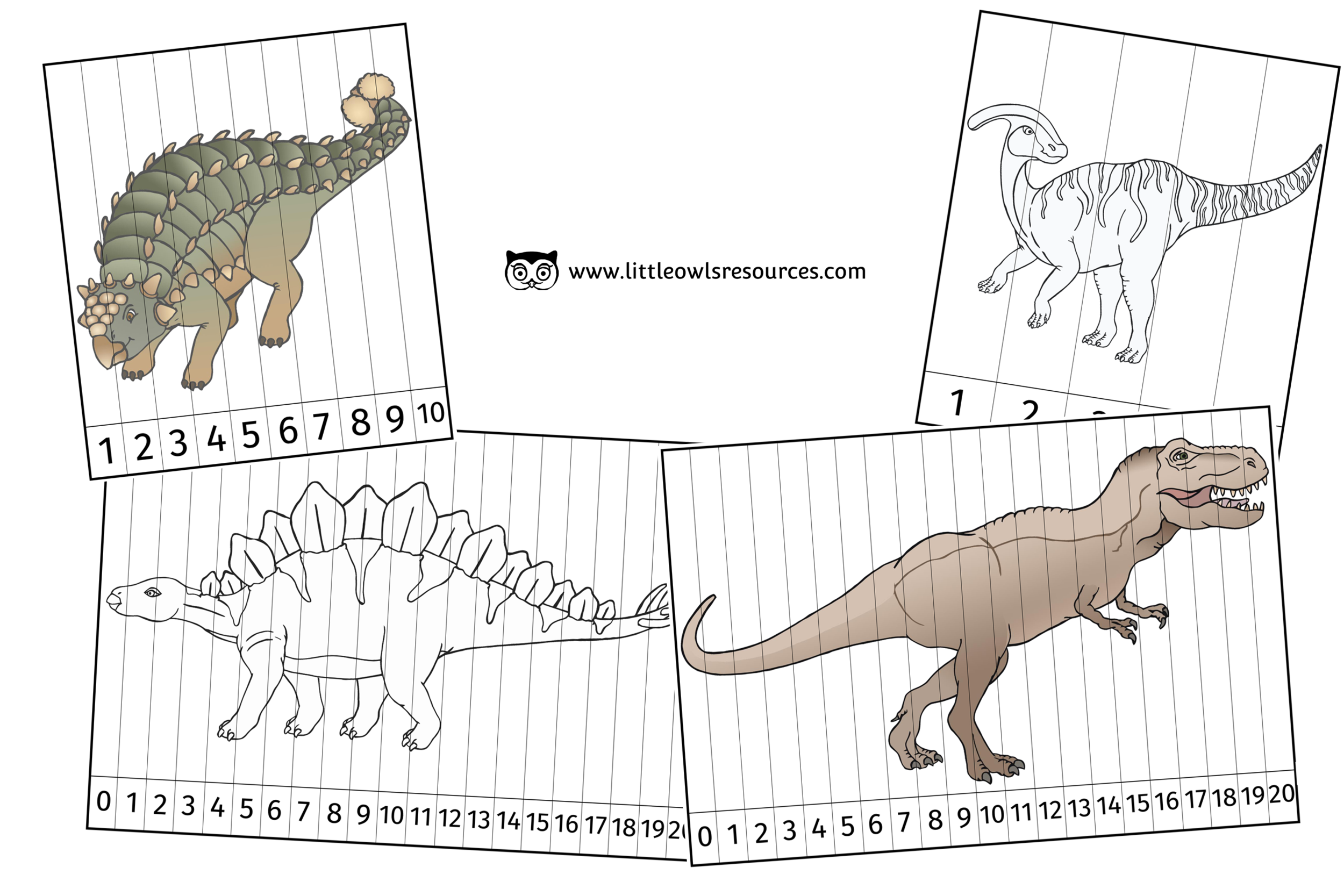 DINOSAUR NUMBER SLICE PUZZLE PICTURES (1-5, 1-10 & 0-20) FULL COLOUR AND COLOURING VERSIONS
