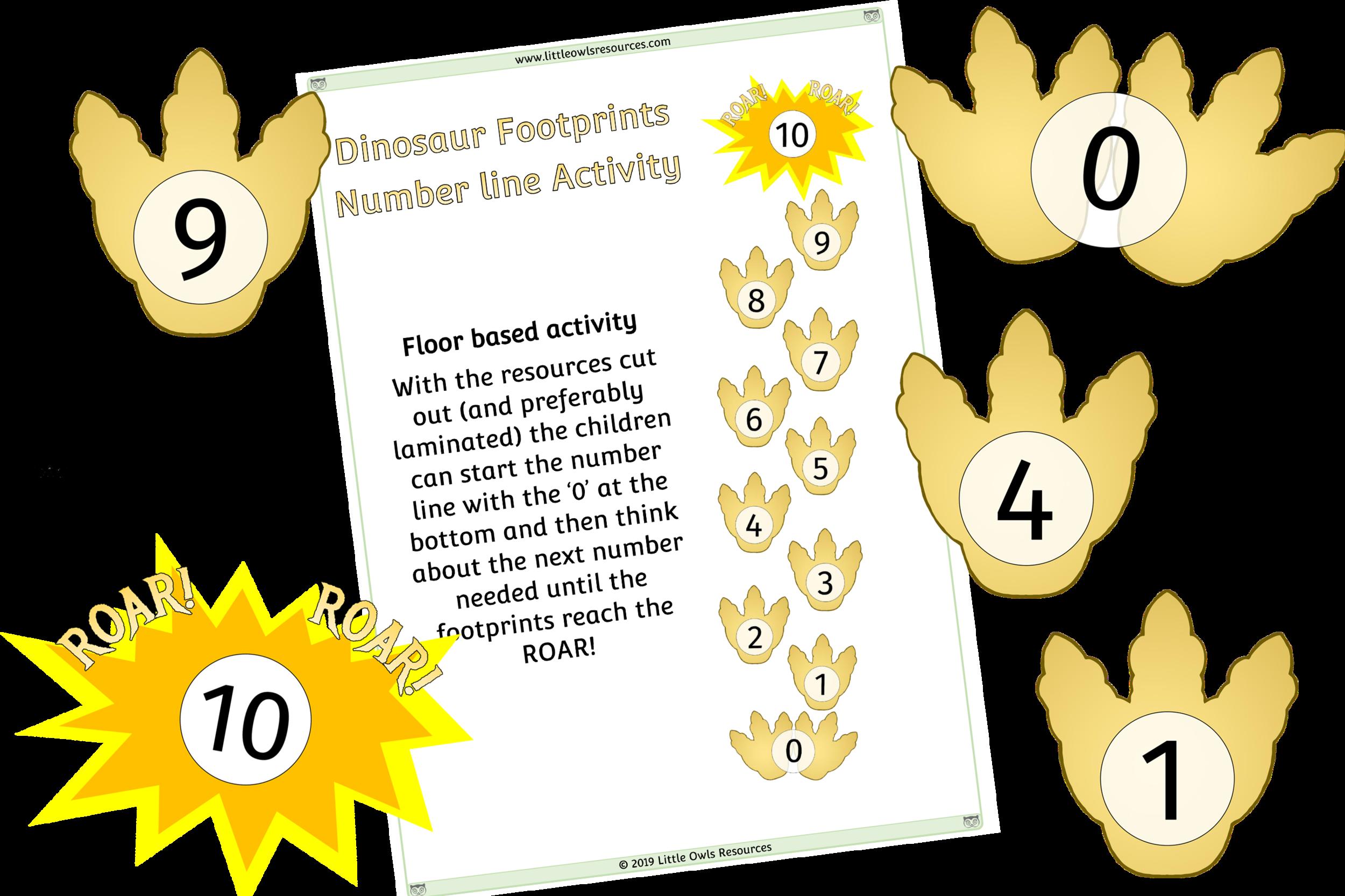 Dinosaur Footprint Number line Activity