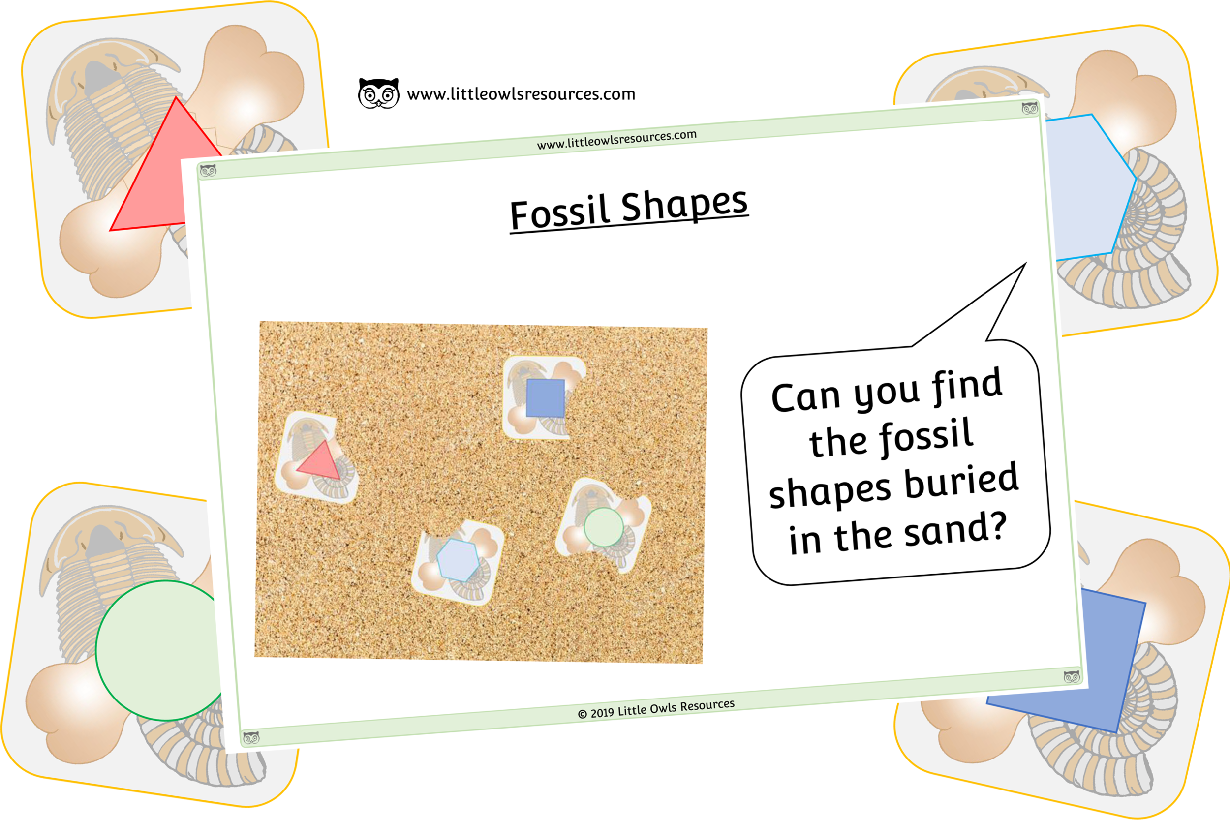 FOSSIL 2D SHAPES/COLOURS - SAND TRAY