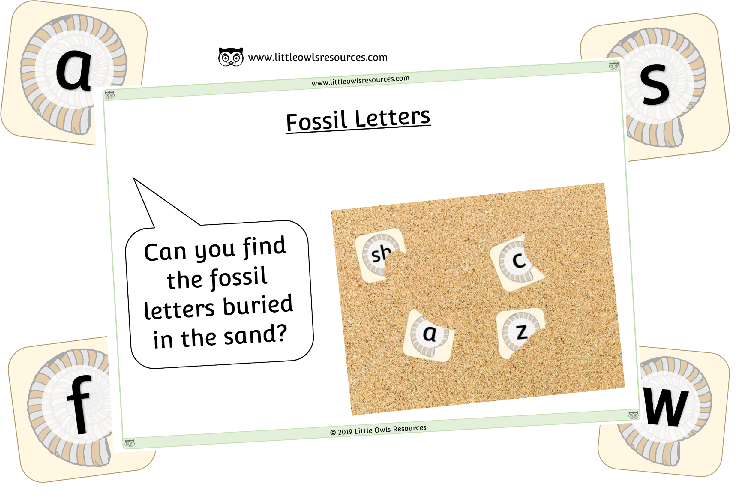 FOSSIL ALPHABET LETTER CARDS - SAND TRAY