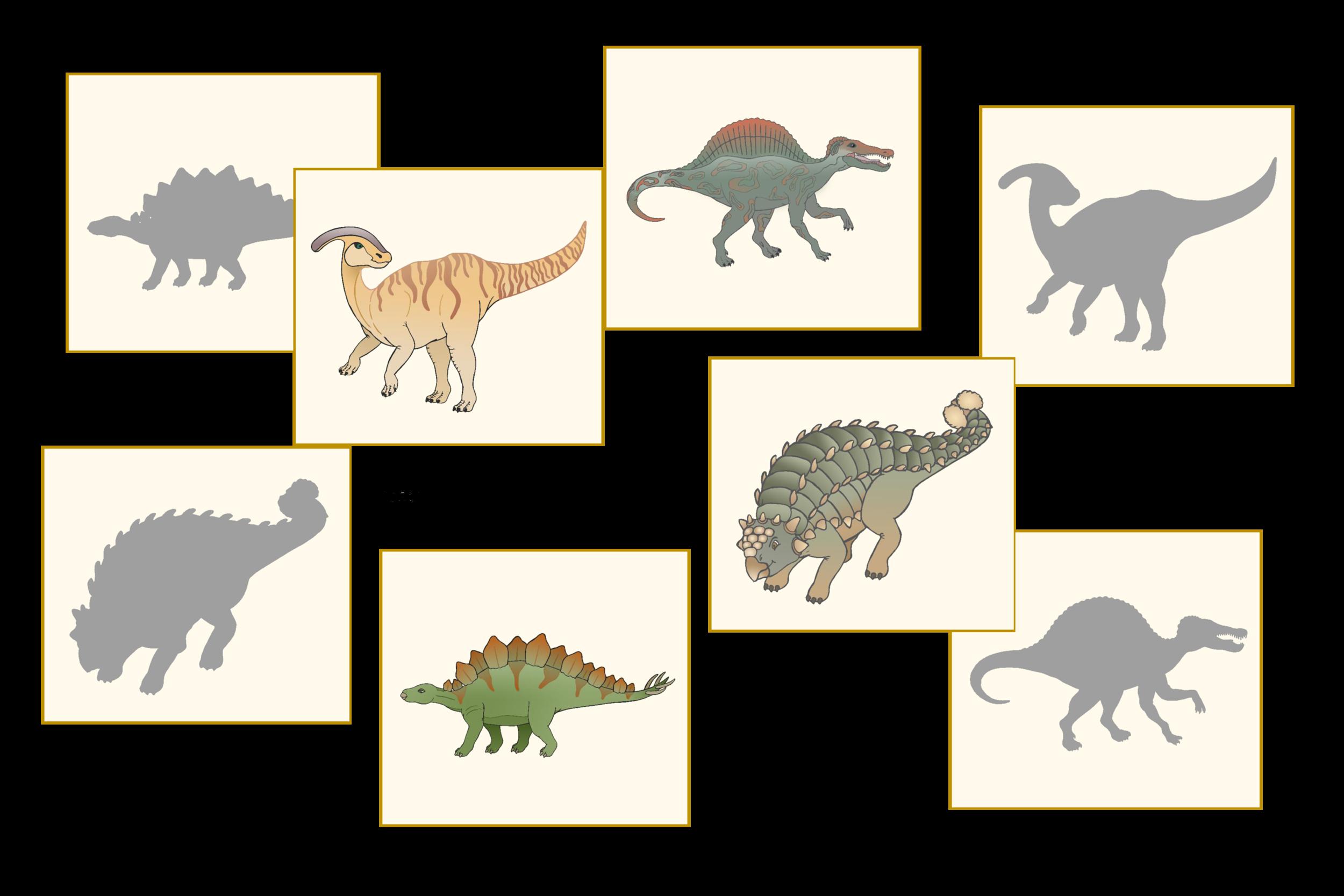 Dinosaur Silhouette Match Cards