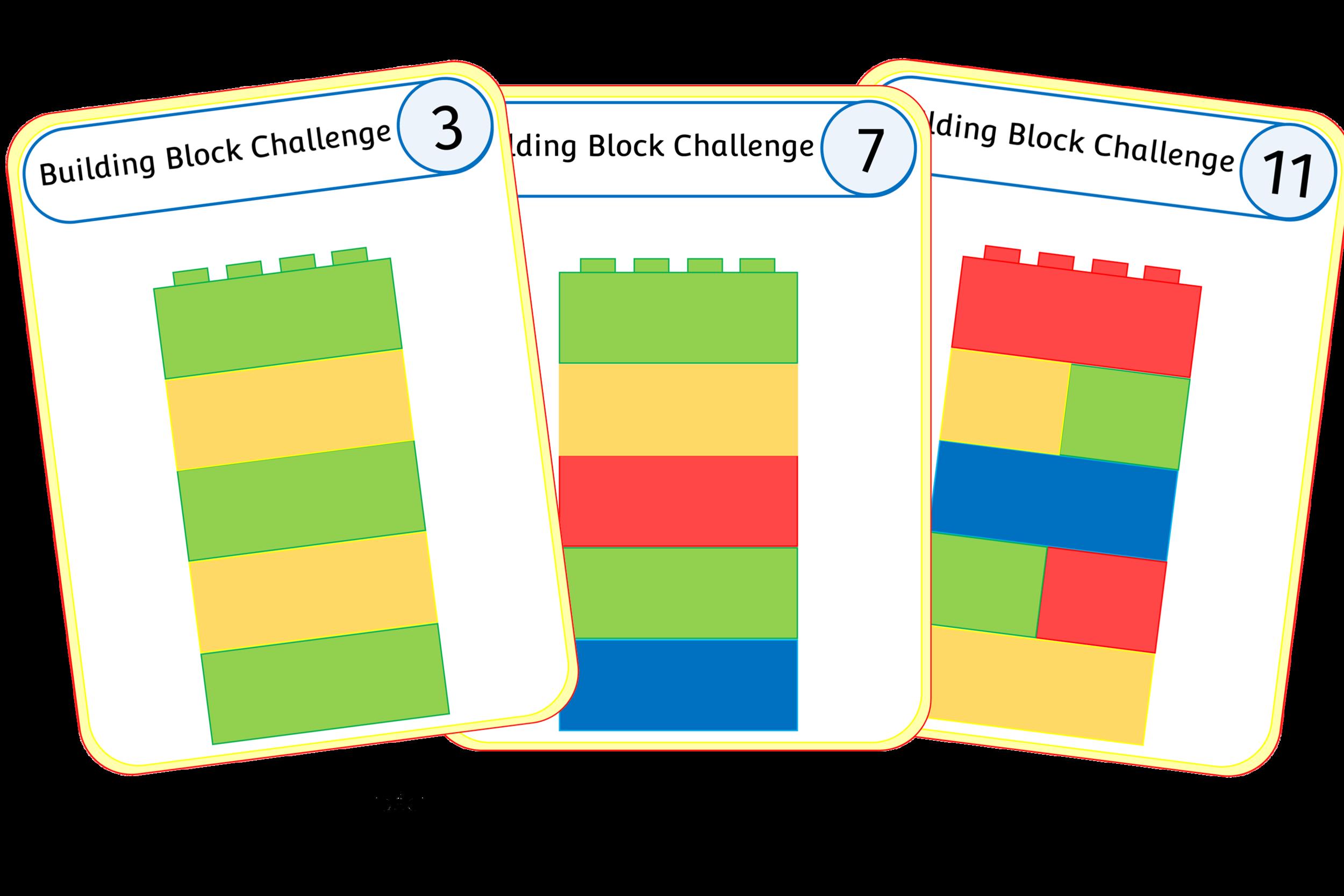 BUILDING BLOCKS PATTERN/COLOUR CHALLENGE CARDS