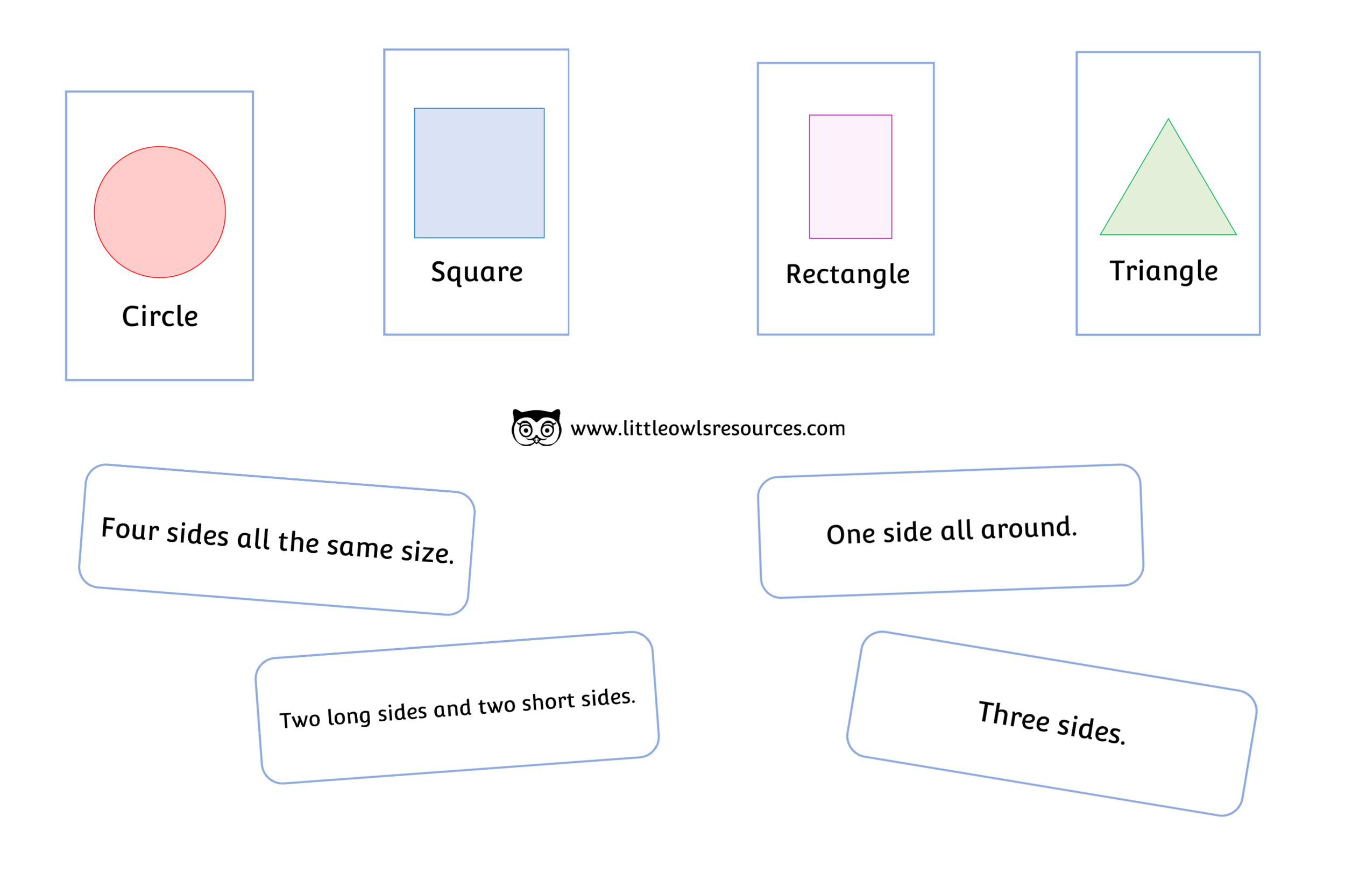 2D Shape Description Matching Cards and Statements Game