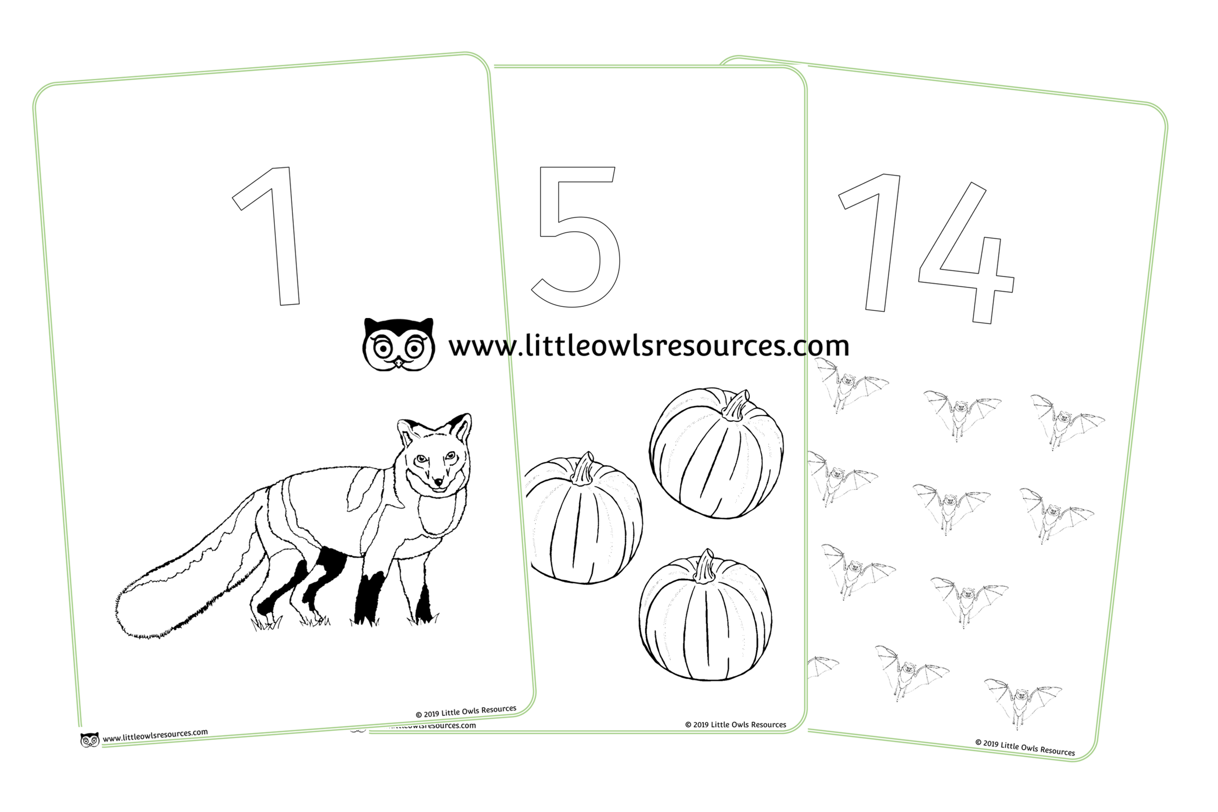 AUTUMN 0-20 COLOUR AND COUNT POSTERS/SHEETS