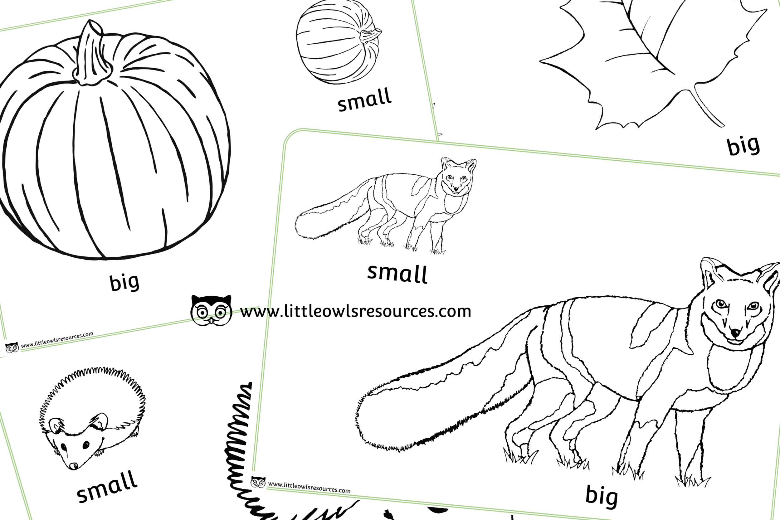 Big and Small Size Autumn Colouring Pages