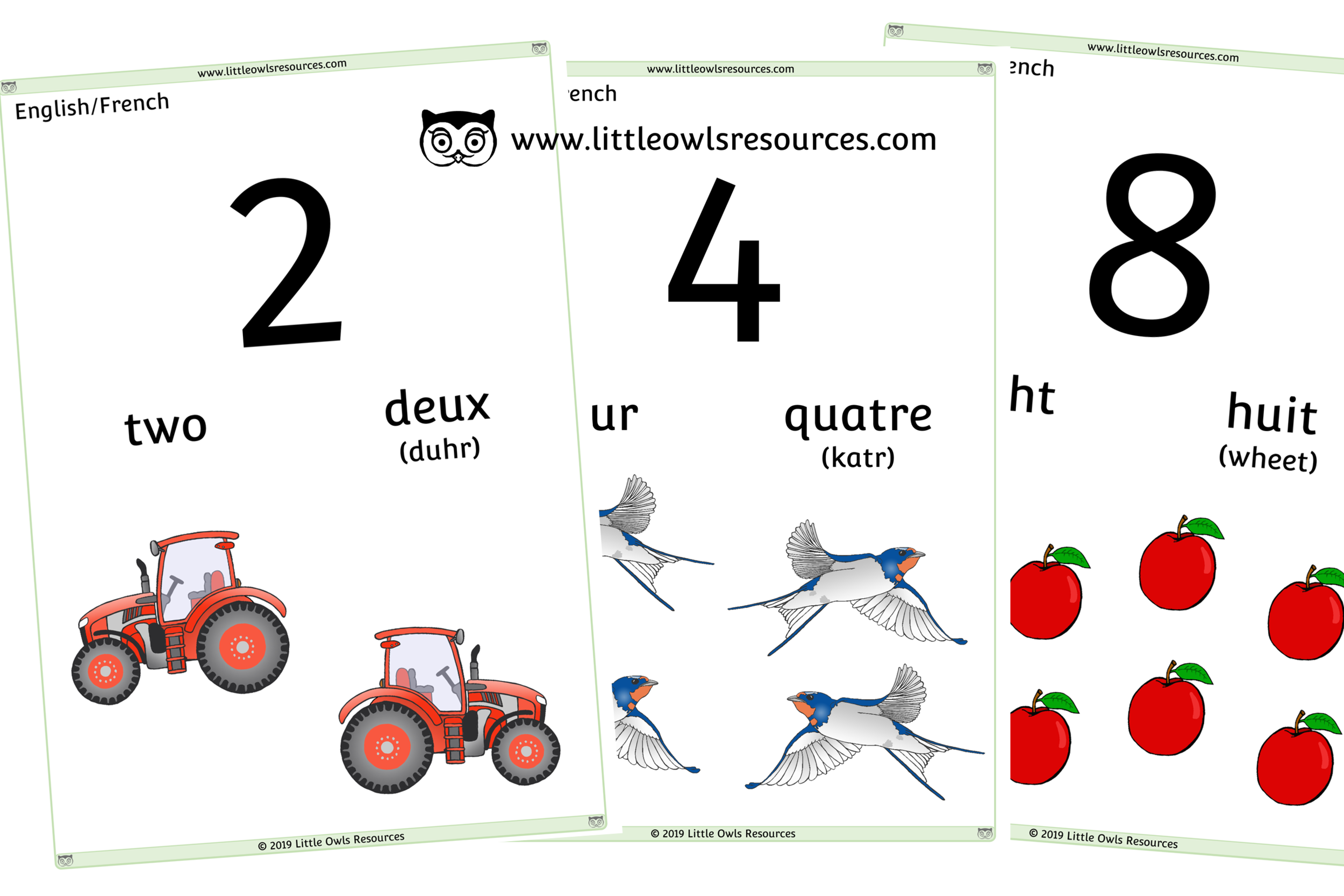 0-10 Counting French/ English - French/English Dual Language Numbers and Counting Posters/Display/Flashcards