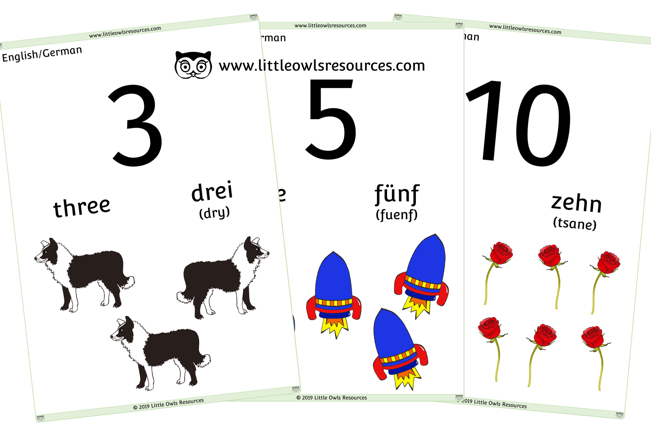 0-10 Counting German/English - German/English Dual Language Numbers and Counting Posters/Display/Flashcards