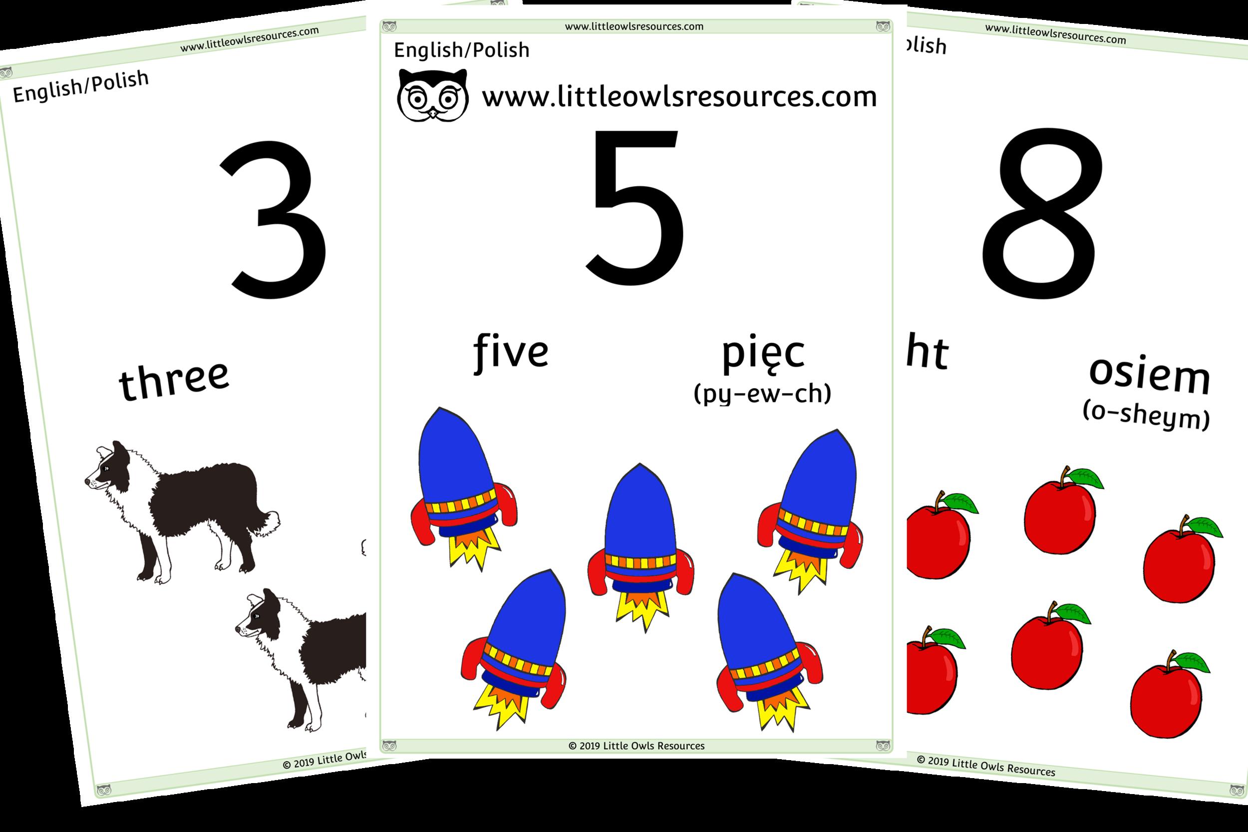 0-10 Counting Polish/English - Polish/English Dual Language Numbers and Counting Posters/Display/Flashcards