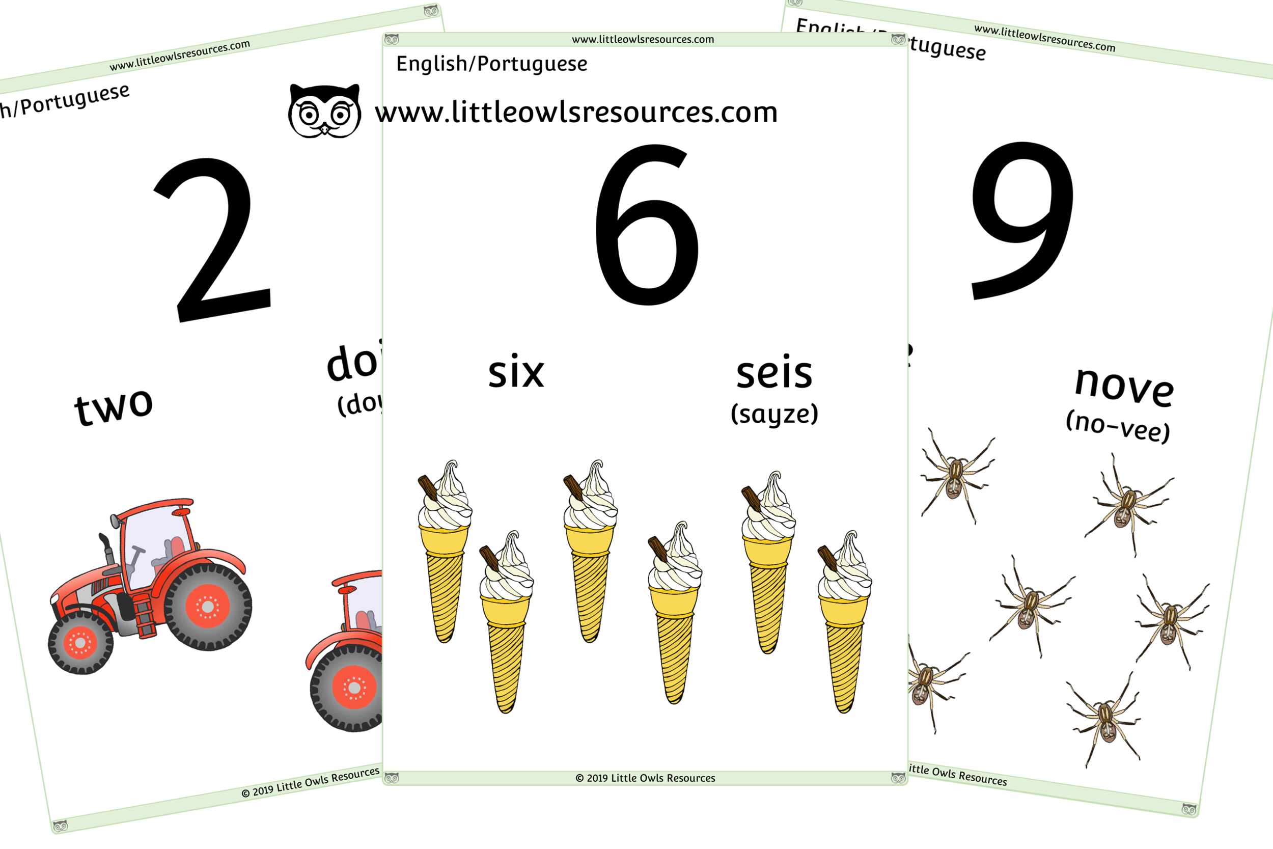 0-10 Counting Portuguese /English - Portuguese/English Dual Language Numbers and Counting Posters/Display/Flashcards