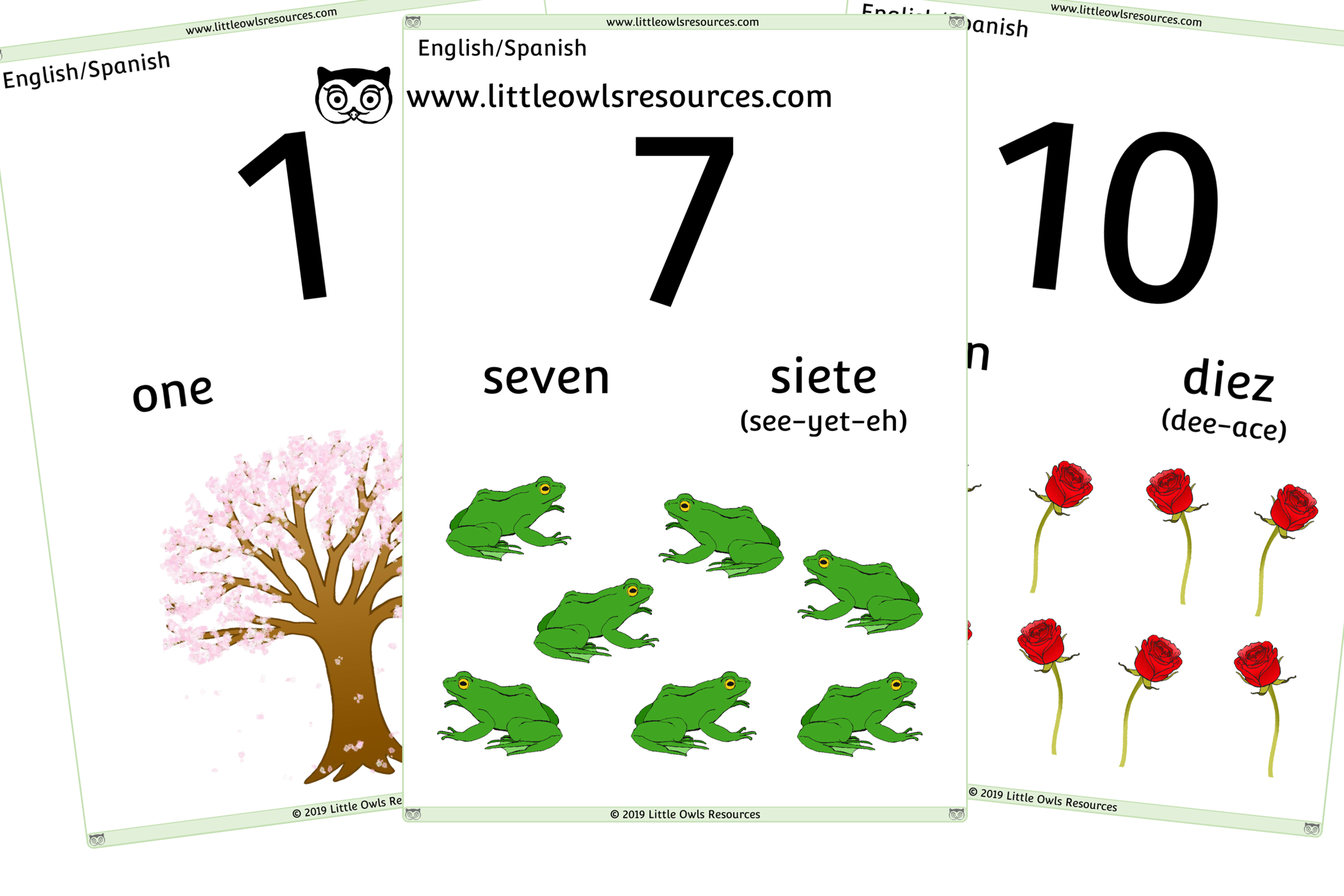 0-10 Counting Spanish/English - Spanish/English Dual Language Numbers and Counting Posters/Display/Flashcards