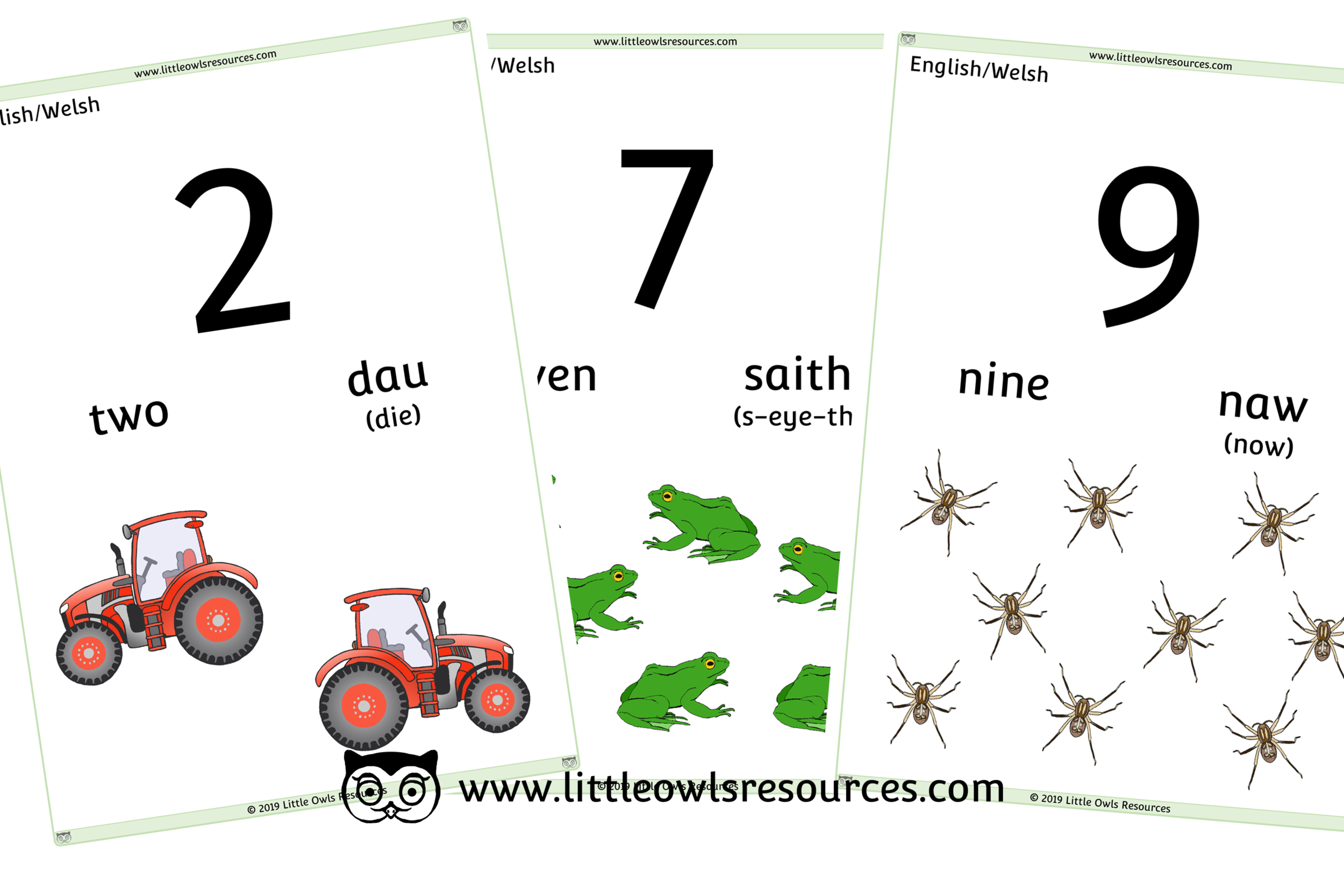 0-10 Counting Welsh/English - Welsh/English Dual Language Numbers and Counting Posters/Display/Flashcards