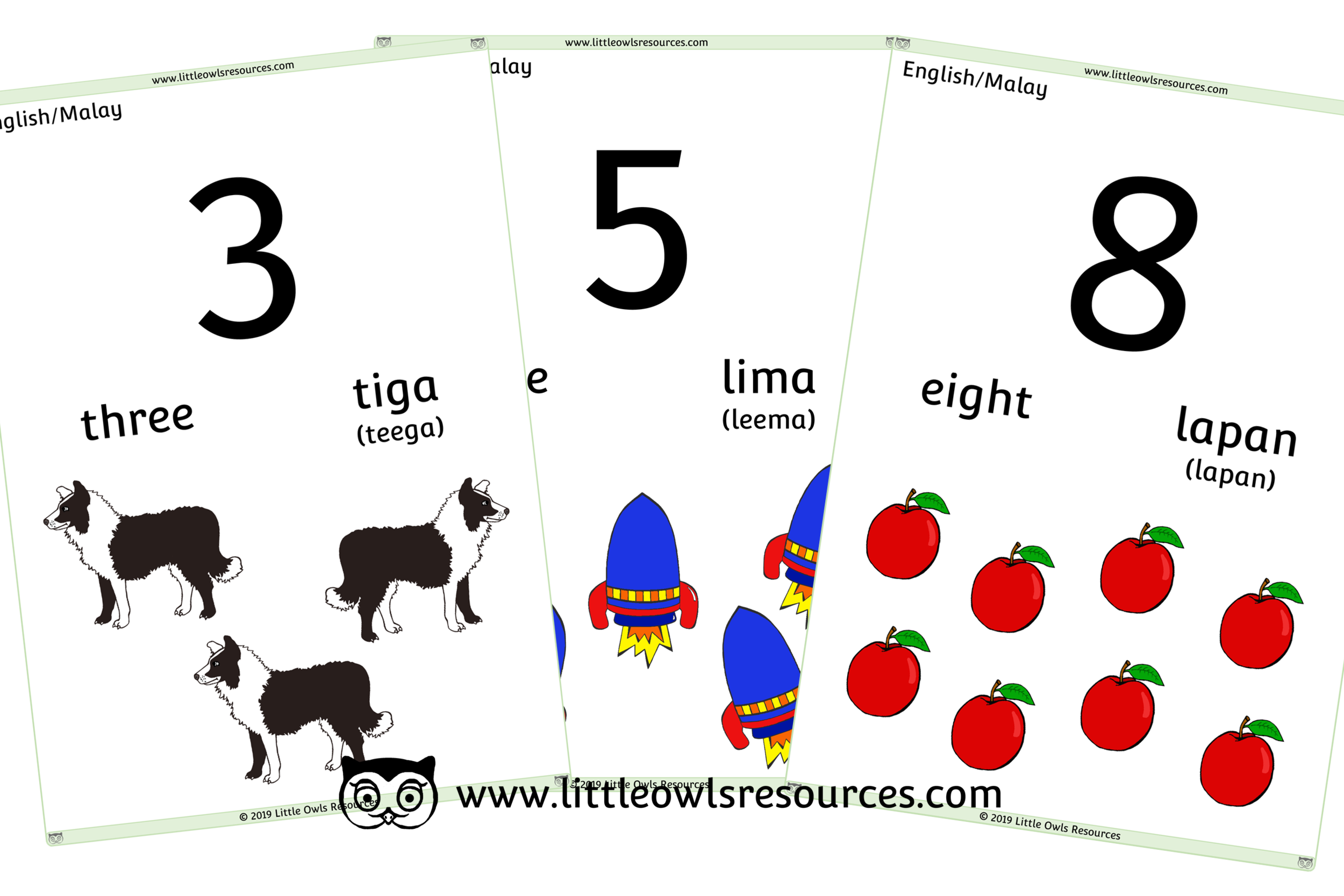 0-10 Counting Malay/English - Malay/English Dual Language Numbers and Counting Posters/Display/Flashcards