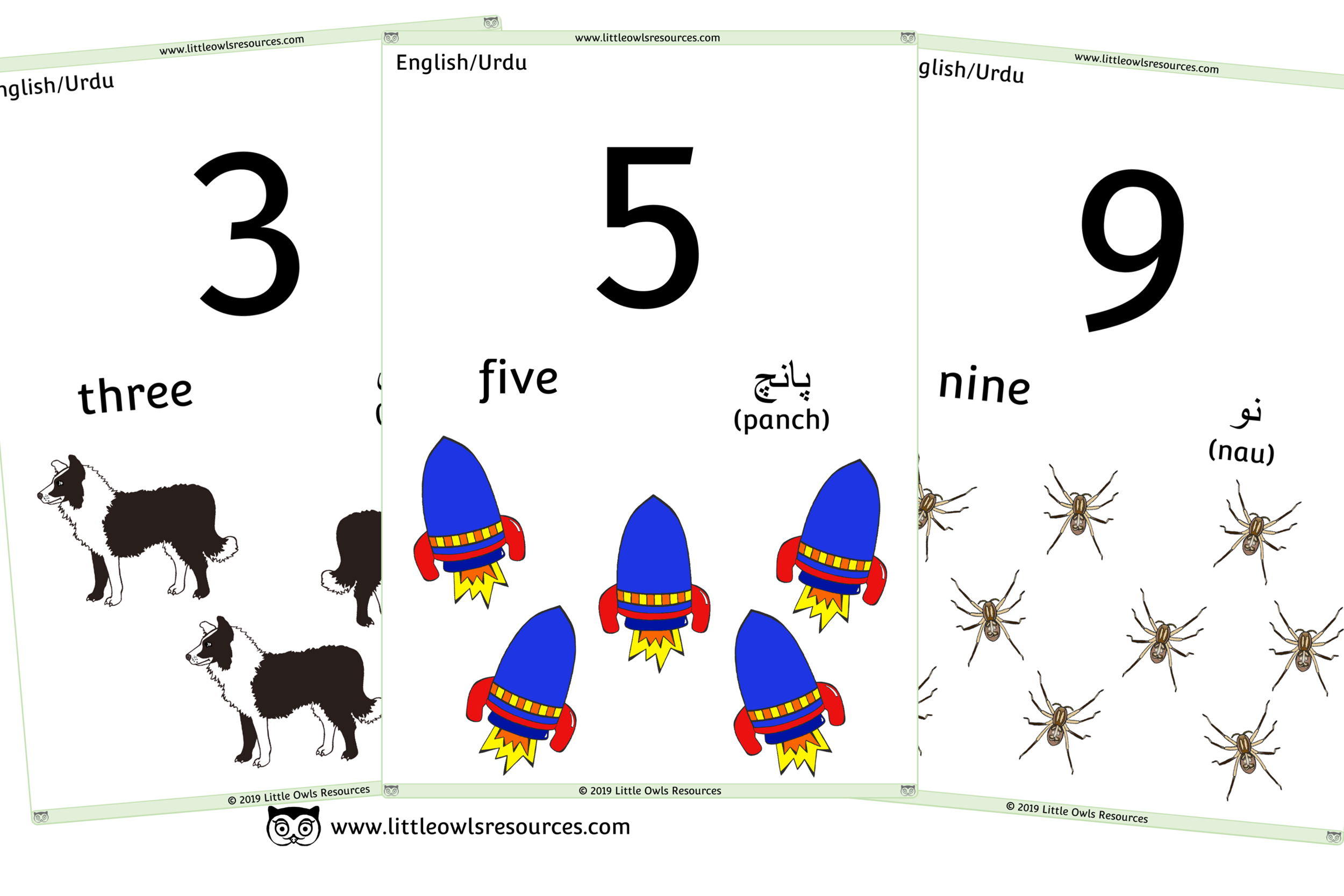 0-10 Counting Urdu/English - Urdu/English Dual Language Numbers and Counting Posters/Display/Flashcards