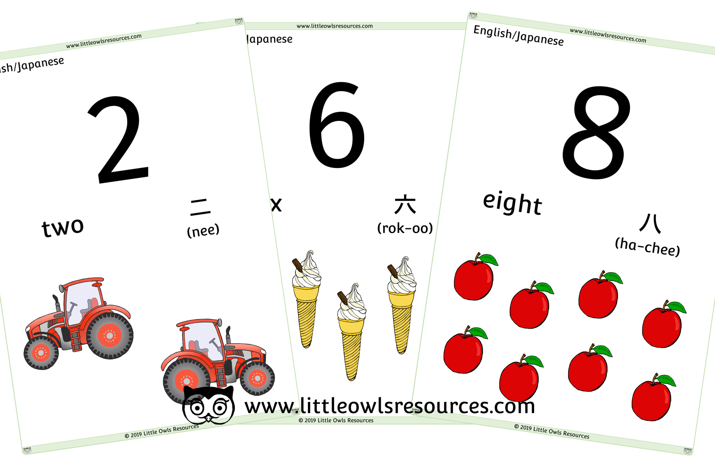 0-10 Counting Japanese/English - Japanese/English Dual Language Numbers and Counting Posters/Display/Flashcards
