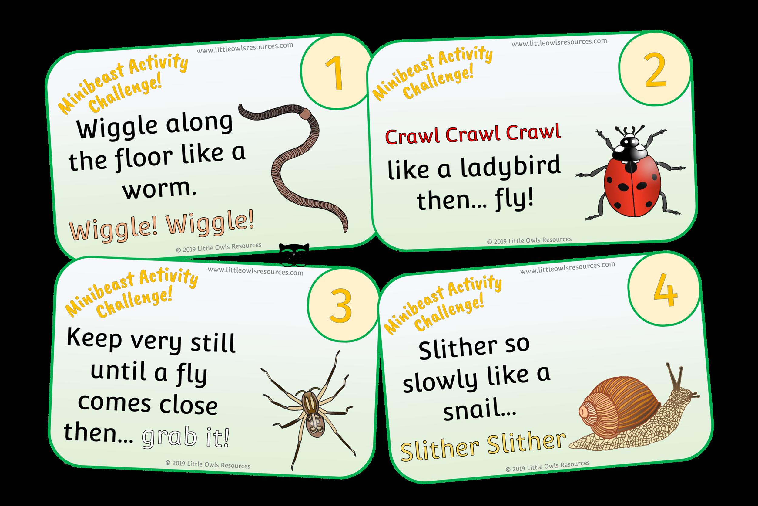 MINIBEAST ACTIVITY/MOVEMENT CHALLENGE CARDS