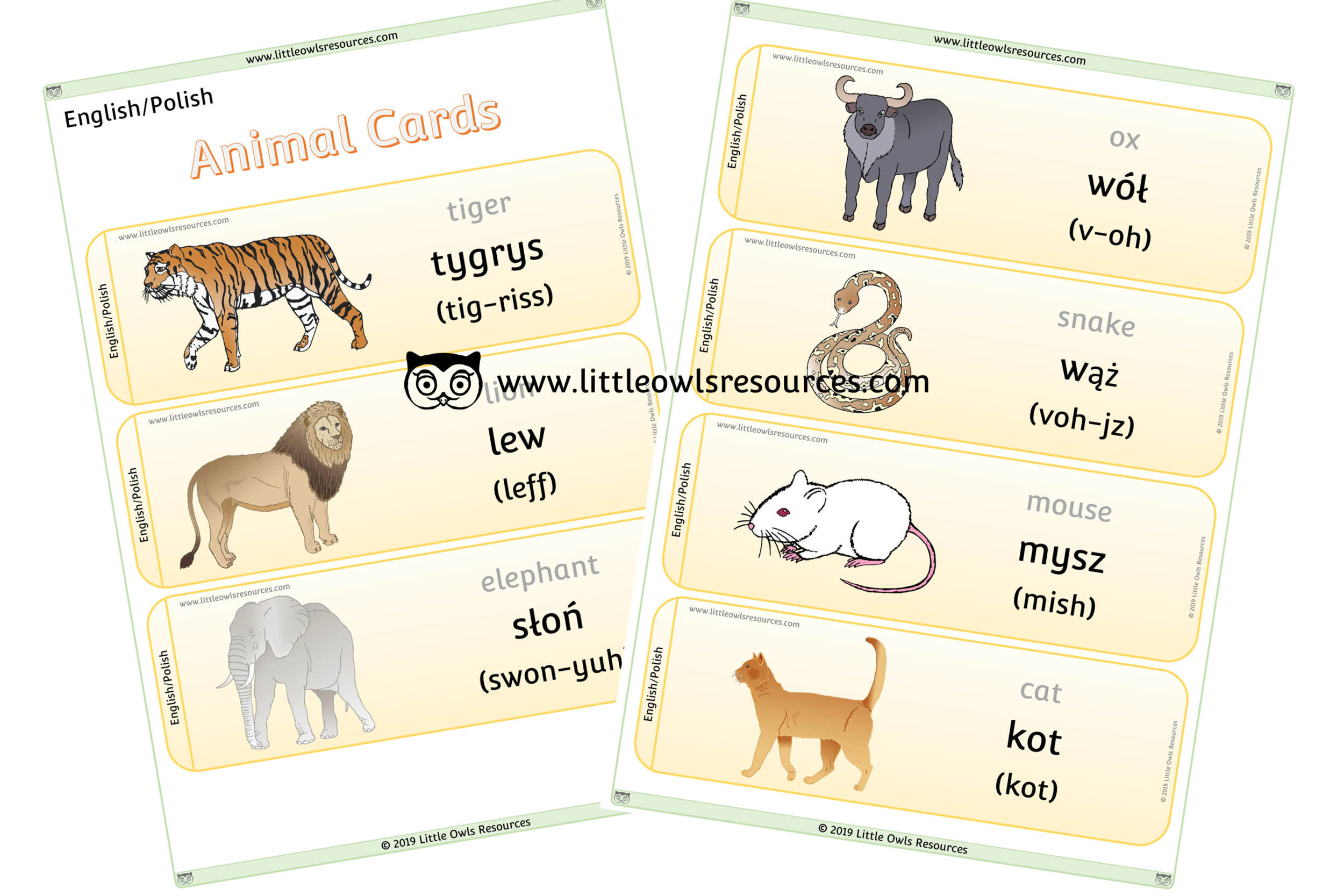 Animals Polish/English - Polish/English Dual Language Animal Cards/Posters/Display