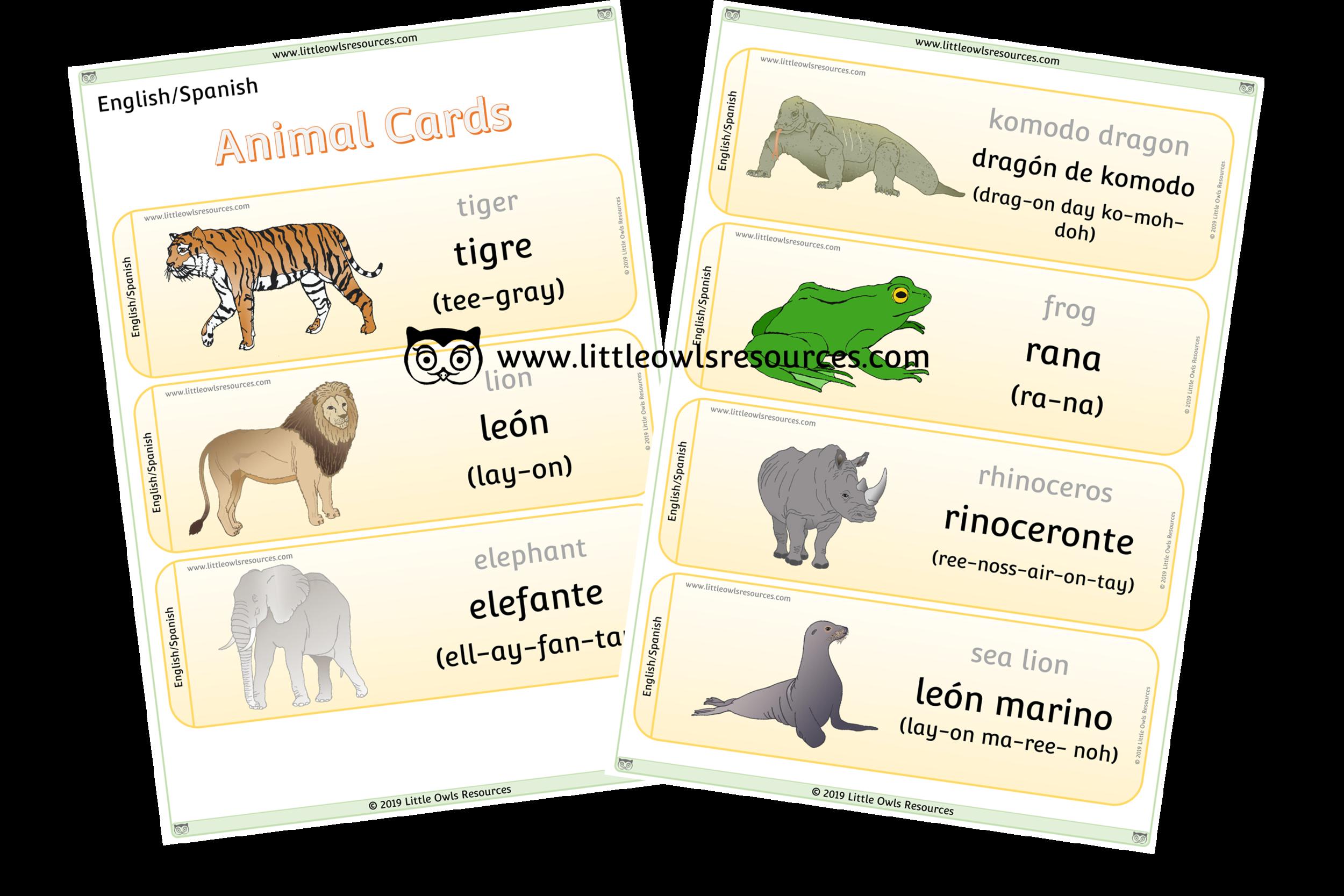 Animals Spanish/English - Spanish/English Dual Language Animal Cards/Posters/Display
