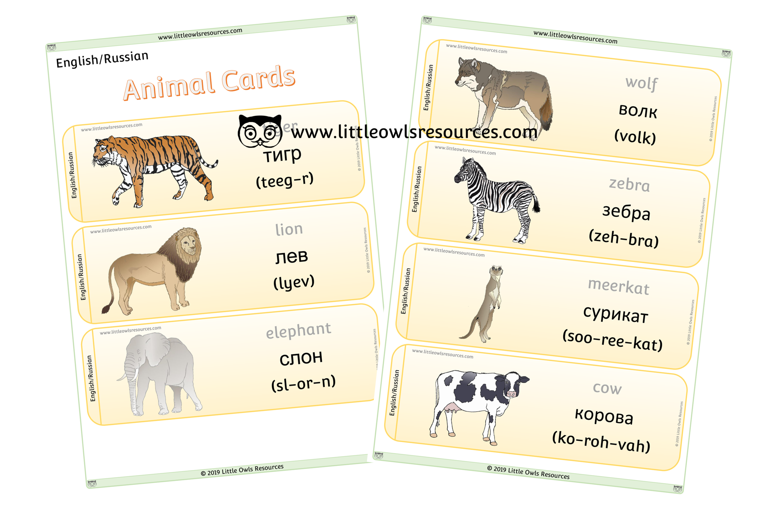 Animals Russian/English - Russian/English Dual Language Animal Cards/Posters/Display