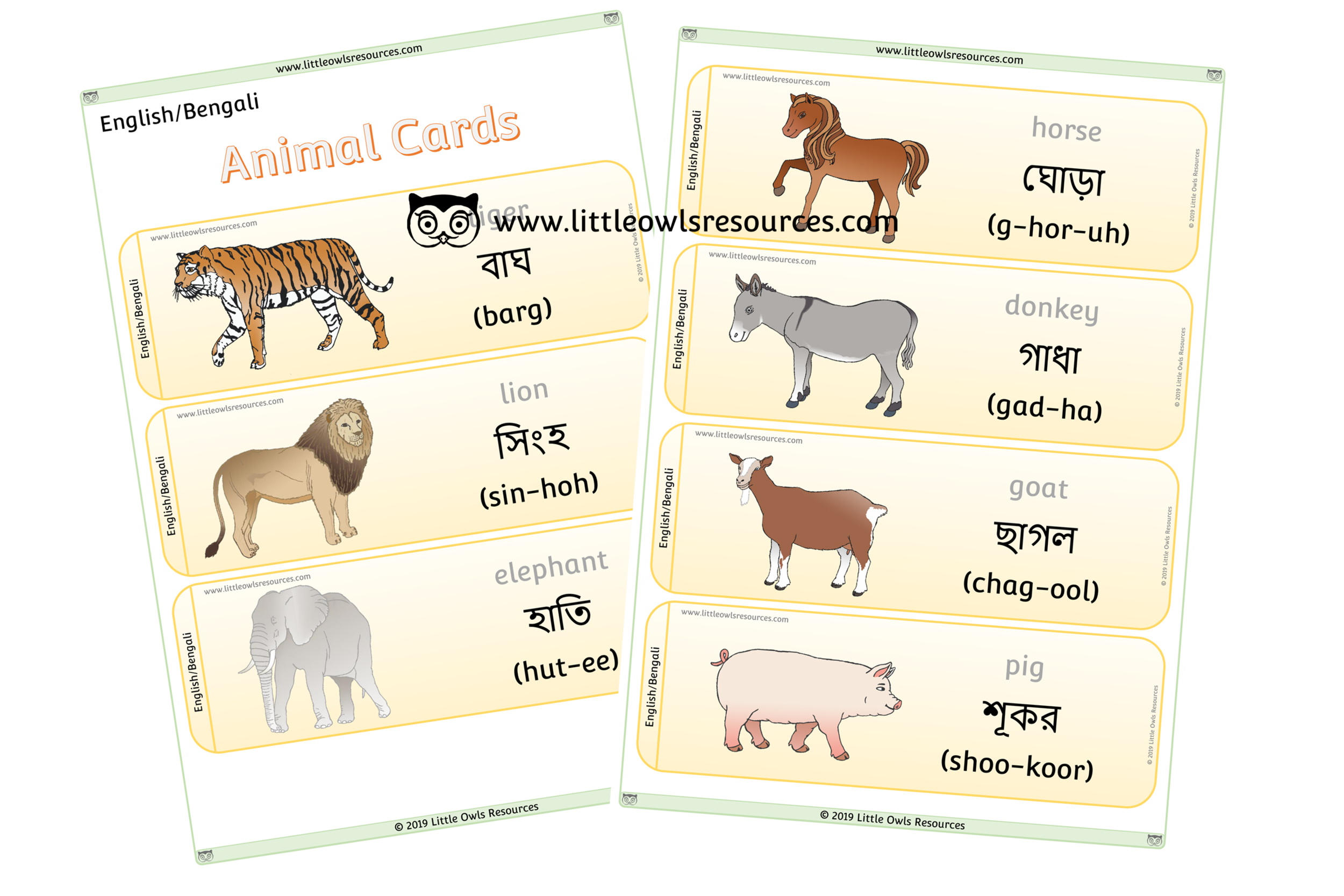 Animals Bengali/English - Bengali/English Dual Language Animal Cards/Posters/Display
