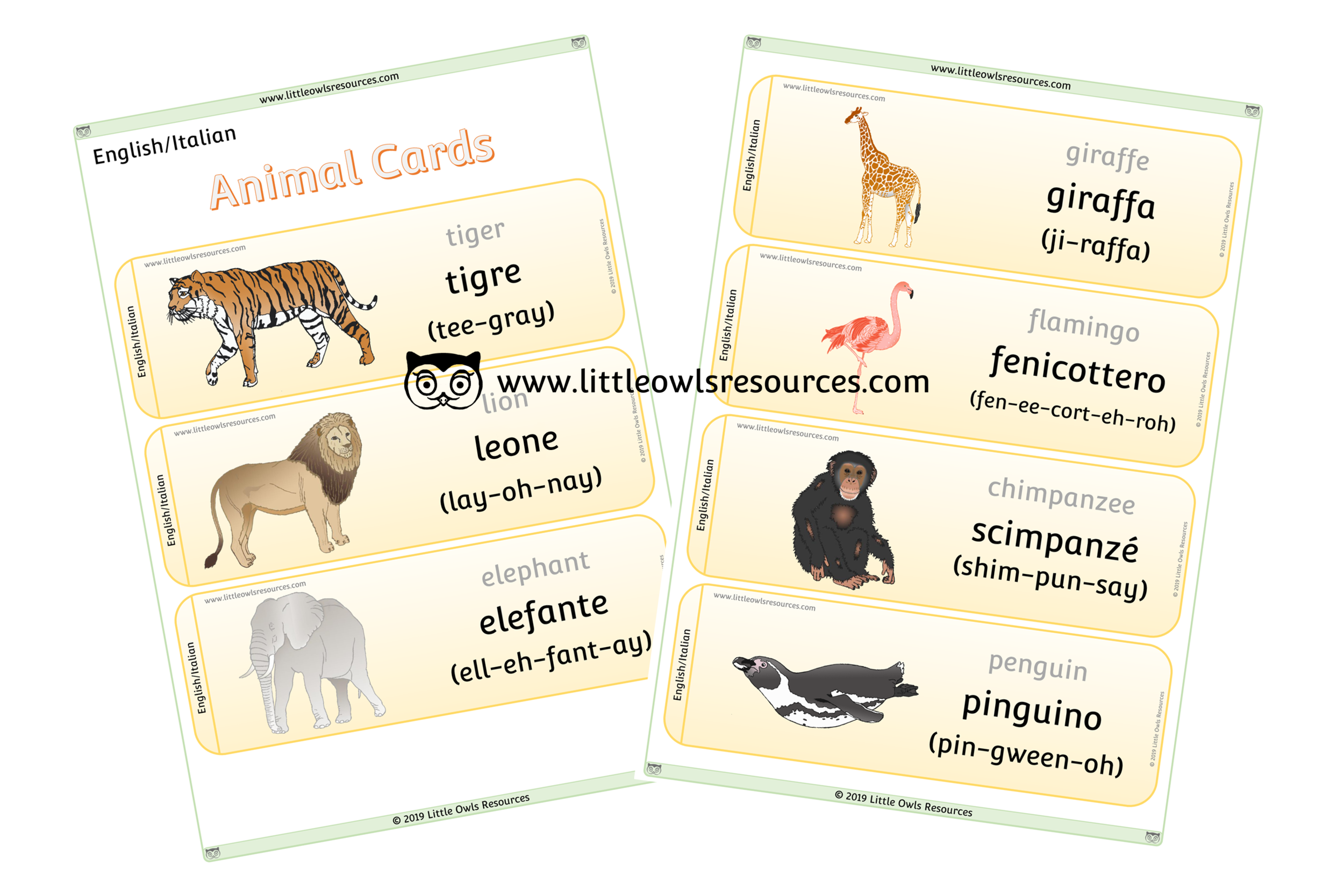 Animals Italian/English - Italian/English Dual Language Animal Cards/Posters/Display