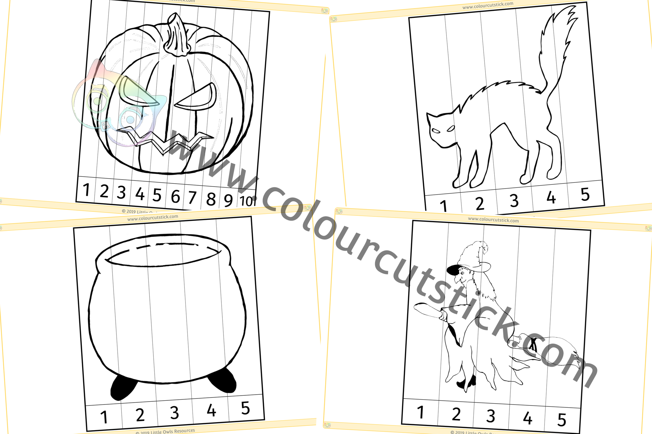 Click on images below for direct link to our www.colourcutstick.com Halloween page, home of our colouring activities!
