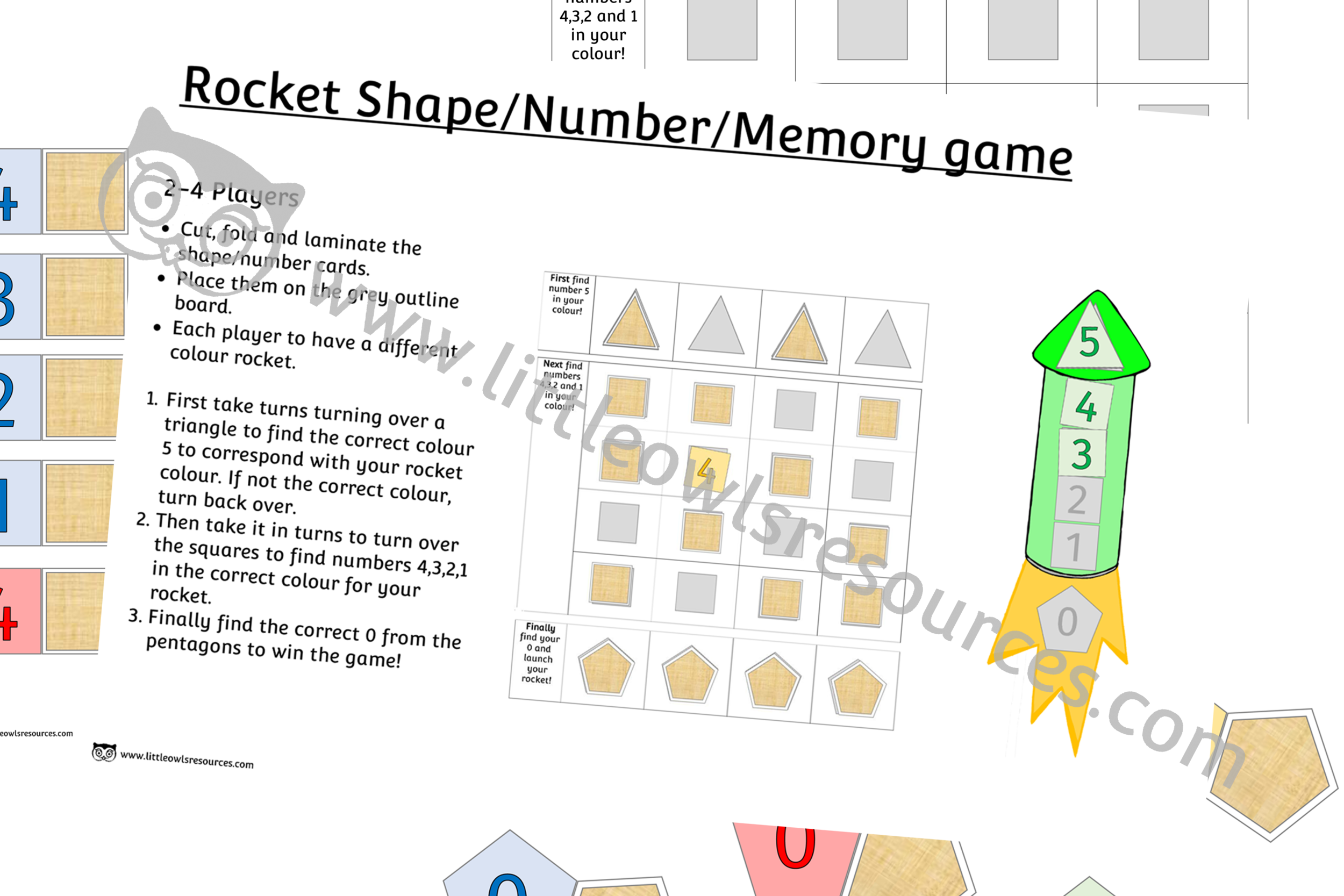 Rocket shape, number, counting memory game