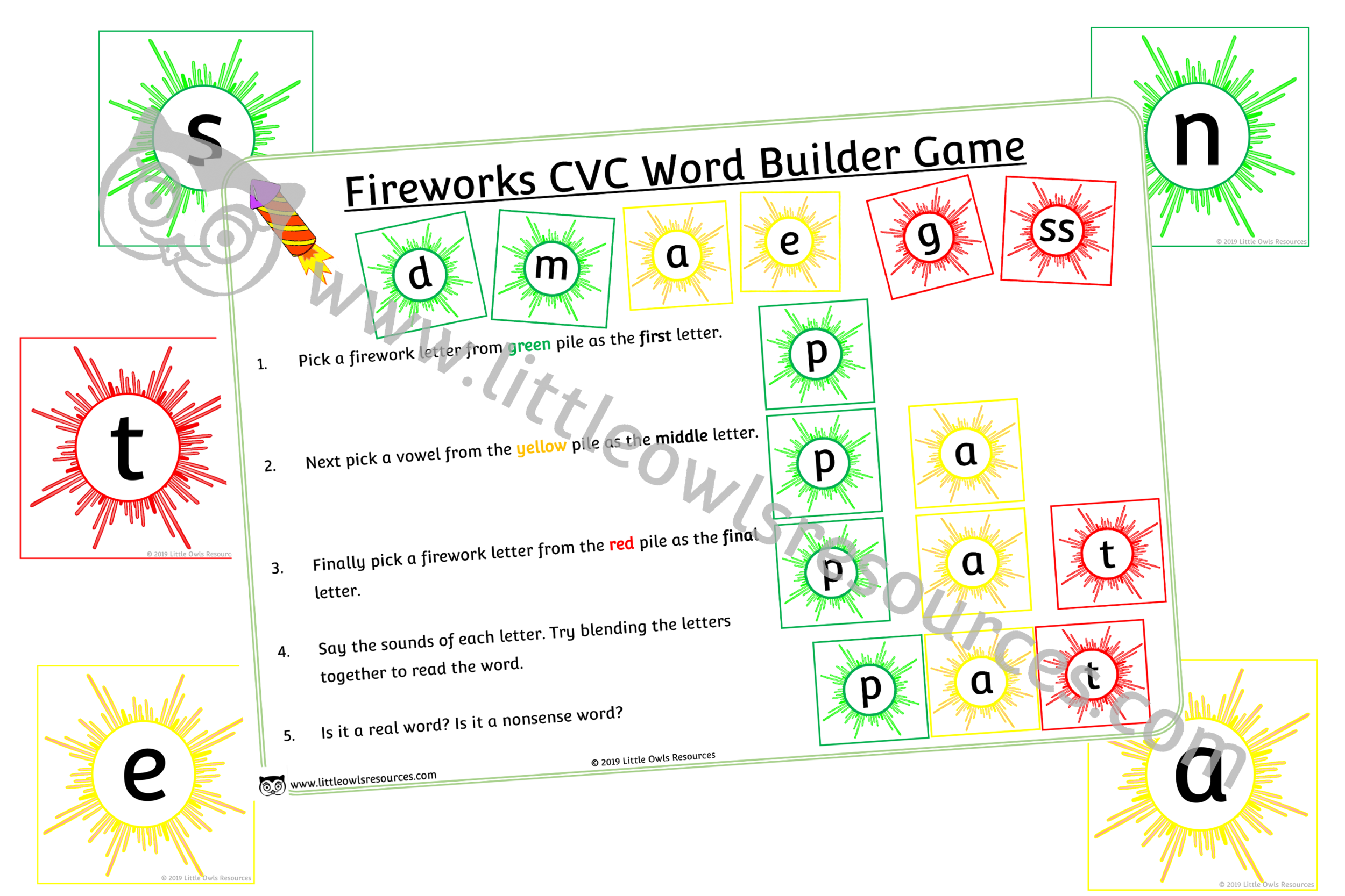 Fireworks CVC word builder game