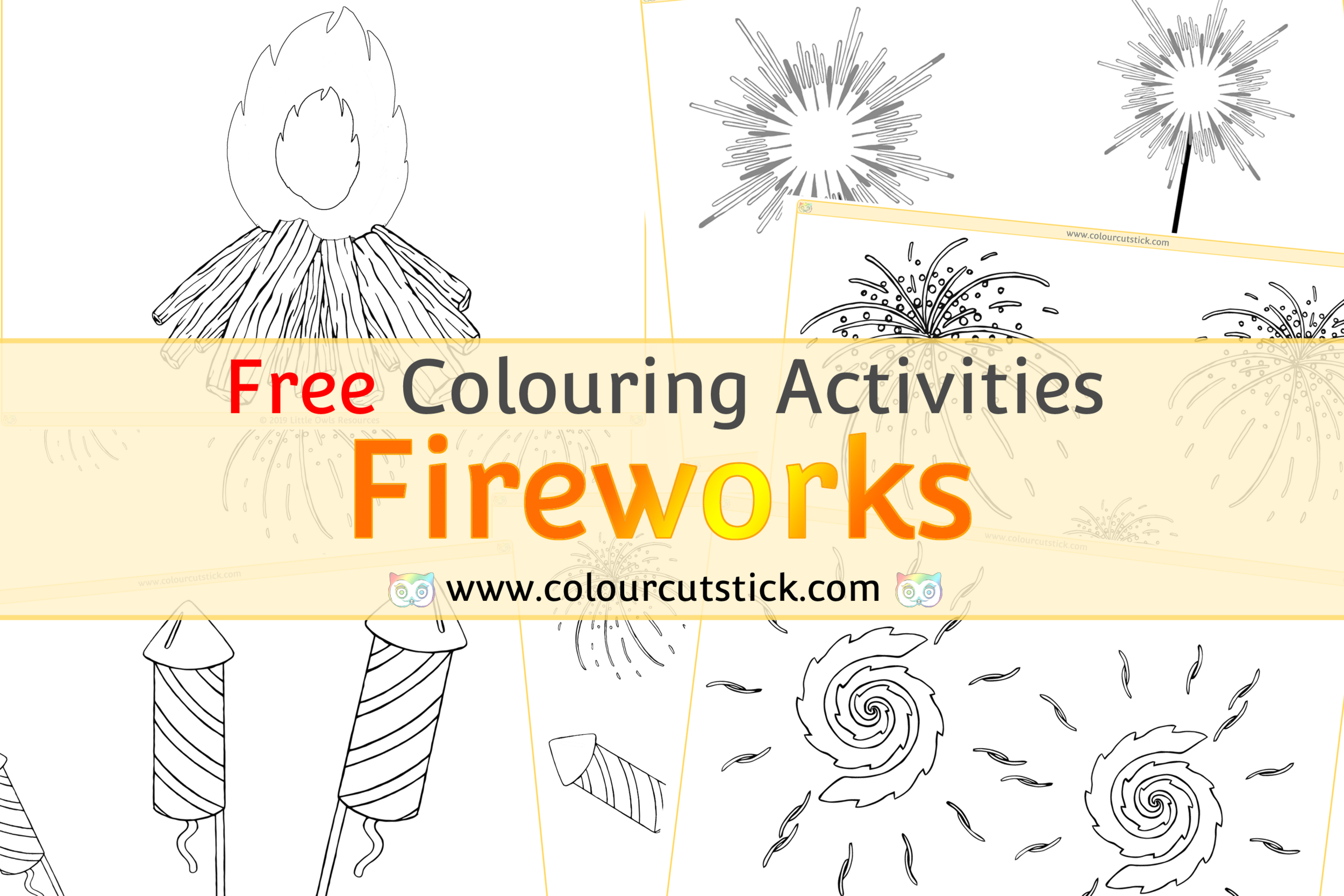 Fireworks/Bonfire/Guy Fawkes Night Colouring