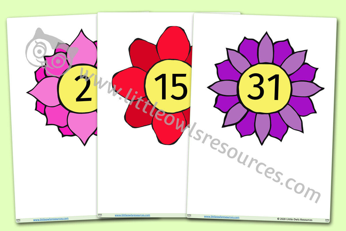Flower Numbers 0-100 Flashcards