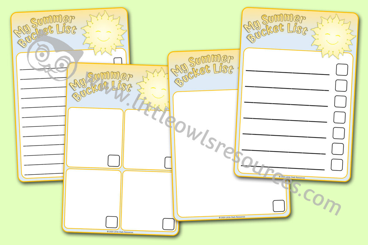 Free Summer Bucket List Printable Early Years Eyfs Resources Downloads Little Owls Resources Free
