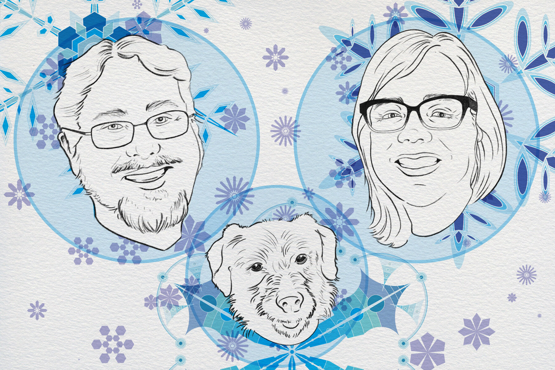 holiday card - A holiday card created for Maria, Stephen and Fenrir
