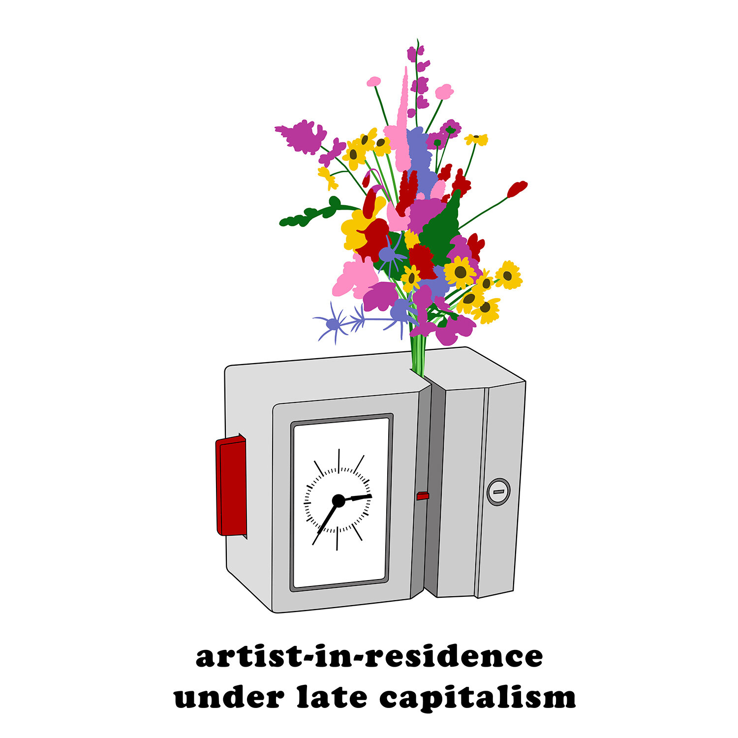 """artist-in-residence - For this commission, the client came up with the phrase """"Artist-in-residence under late capitalism"""". They wanted an image to reflect the idea of having a creative practice being hampered by a day-job. And then the creative practice retaliates"""