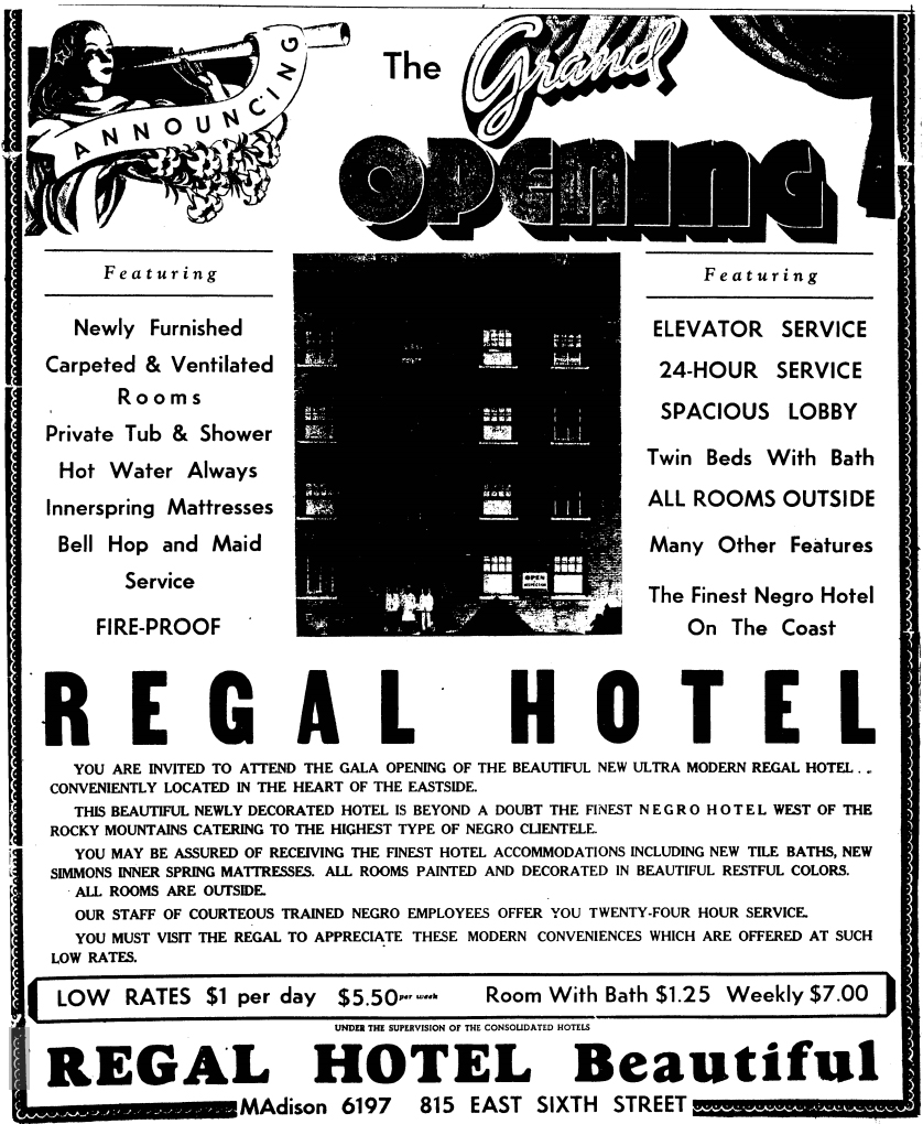 Advertisement for the Regal Hotel - Los Angeles, California