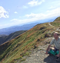Darryl Simms soaking up the magnificent views from the Summit of Mount Feathertop (2nd highest mountain in Victoria)