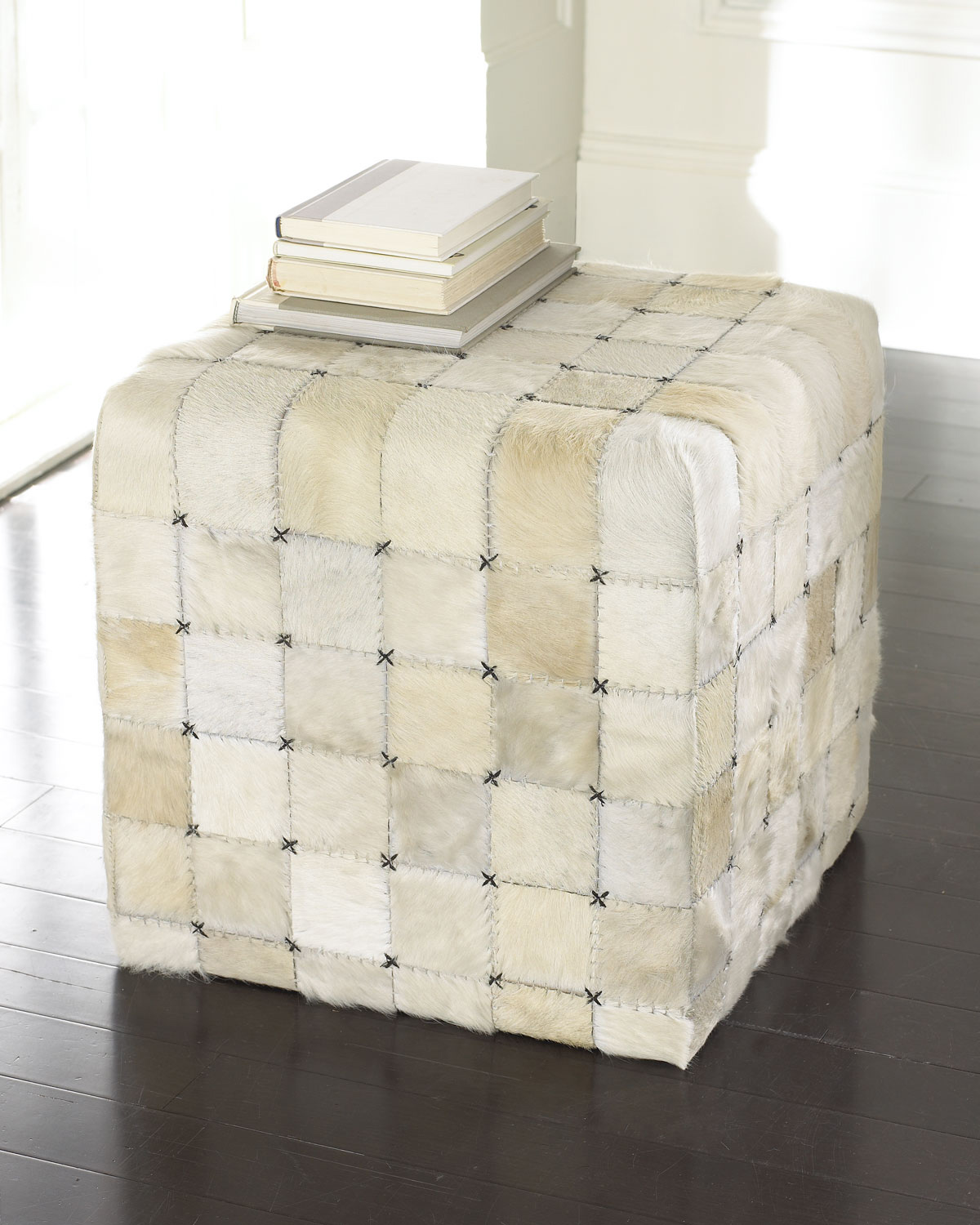 Ivory hairhide pouf, Horchow, $325