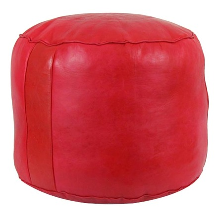 Tabouret red leather pouf, $120