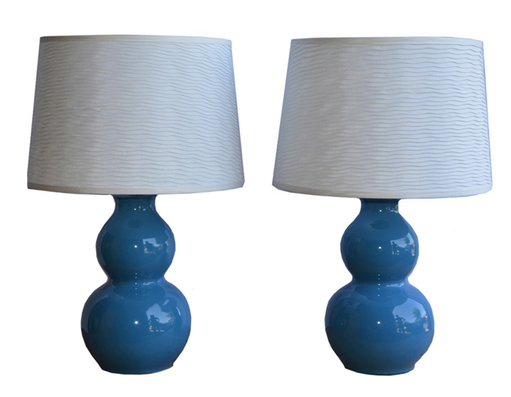 Pair of blue lamps with shades $100 (estimated value $200)