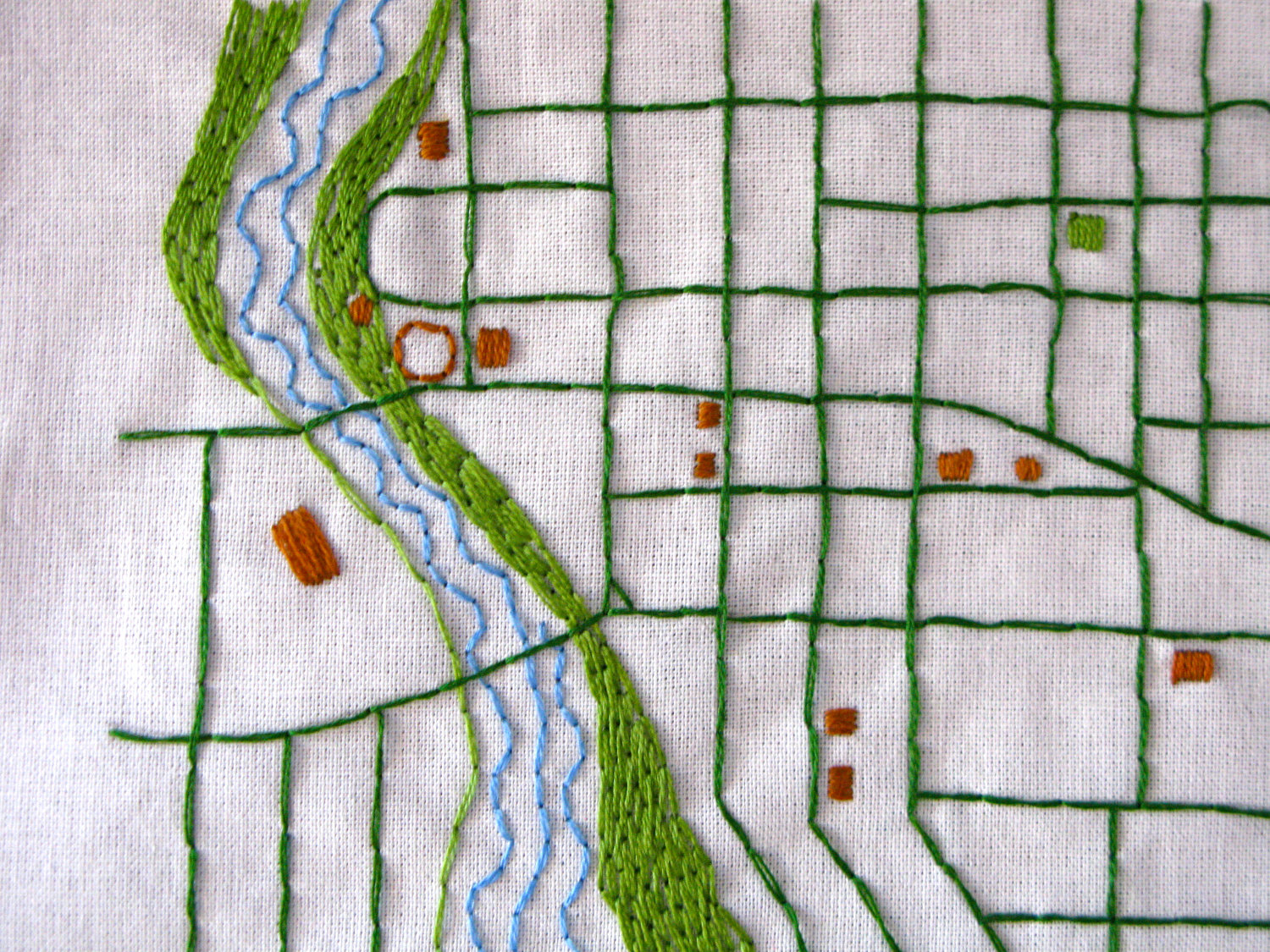 Embroidered neighborhood map by Needle and Compass $60-75