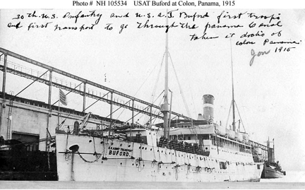 "Postcard from 1915 shows an army transport ship.  The inscription, penciled on the back, reads ""Went to the Philippines on her in 1911 and to New York in 1915. Love from Geo."""