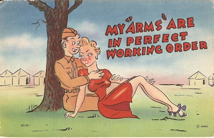 Humor postcard from WWII.  Political satire, humorous cartoons and photographic imagery of tourist destinations marked the 'Linen Era'.  The high rag content of the paper allowed for gaudy, bright colors to be possible.