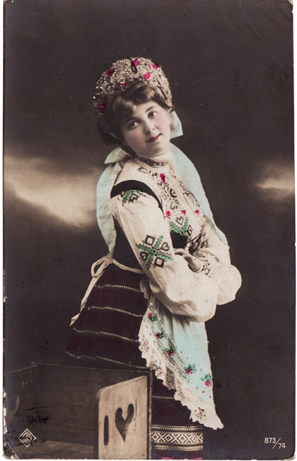 Hand-tinted photo postcard from Belgium