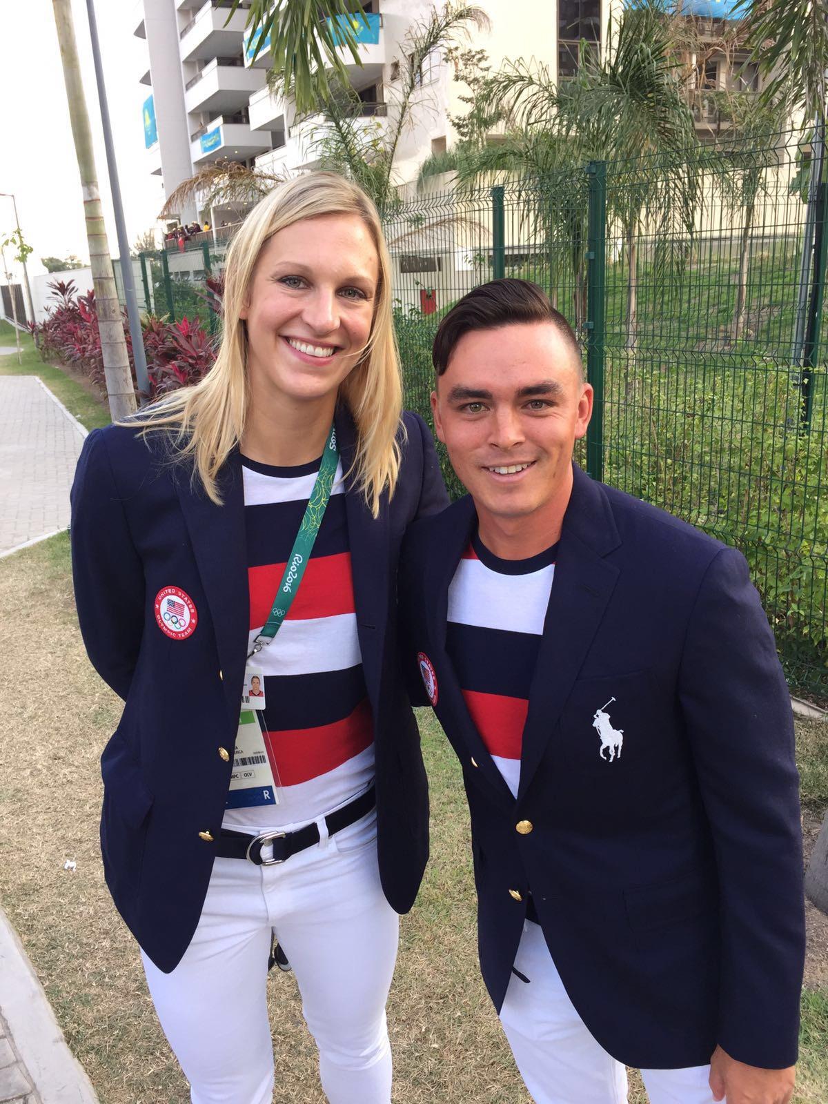 Christa Harmotto Dietzen and Rickie Fowler