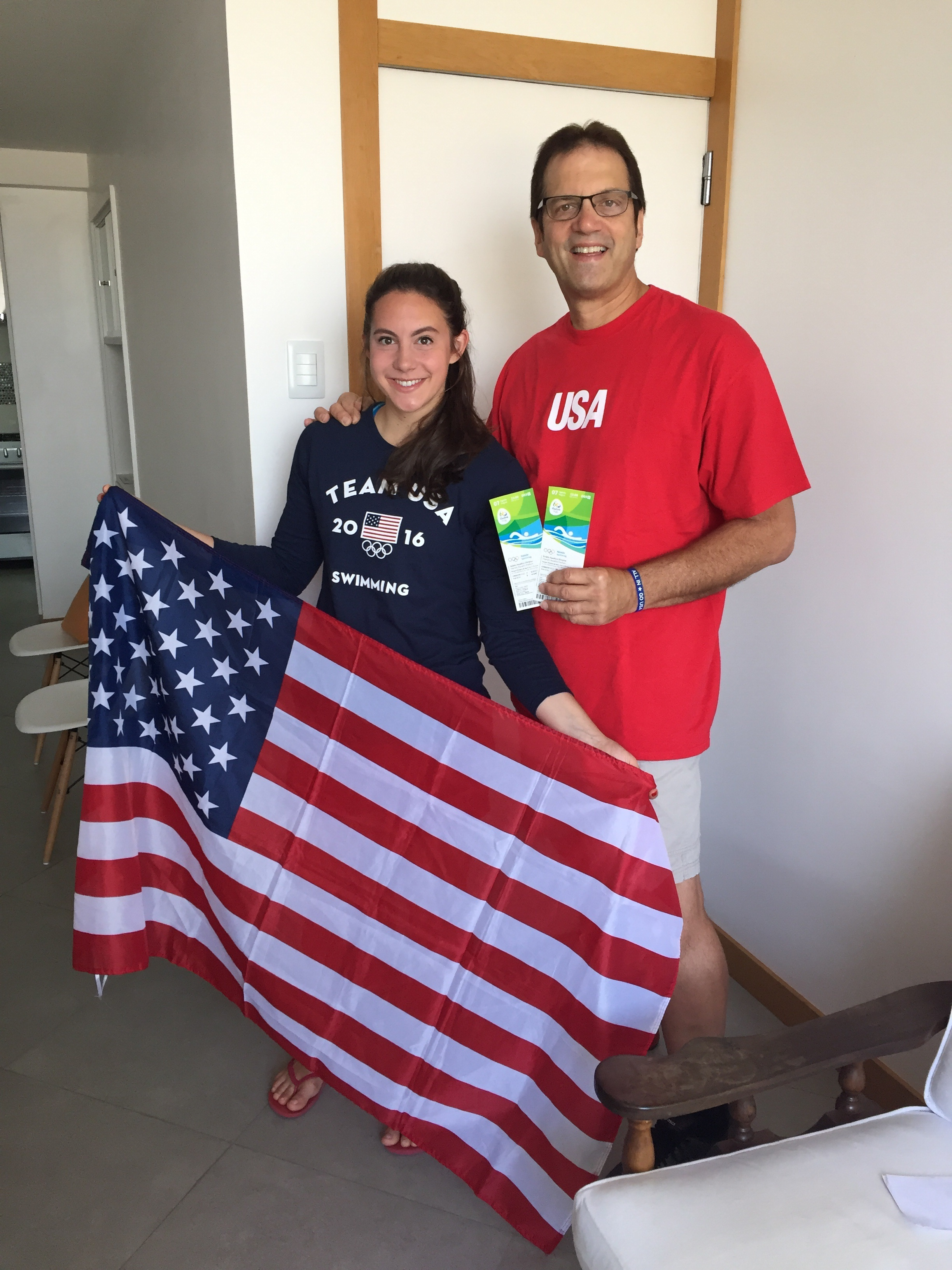Tickets and American Flag in hand...off to an Olympic Swimming Event