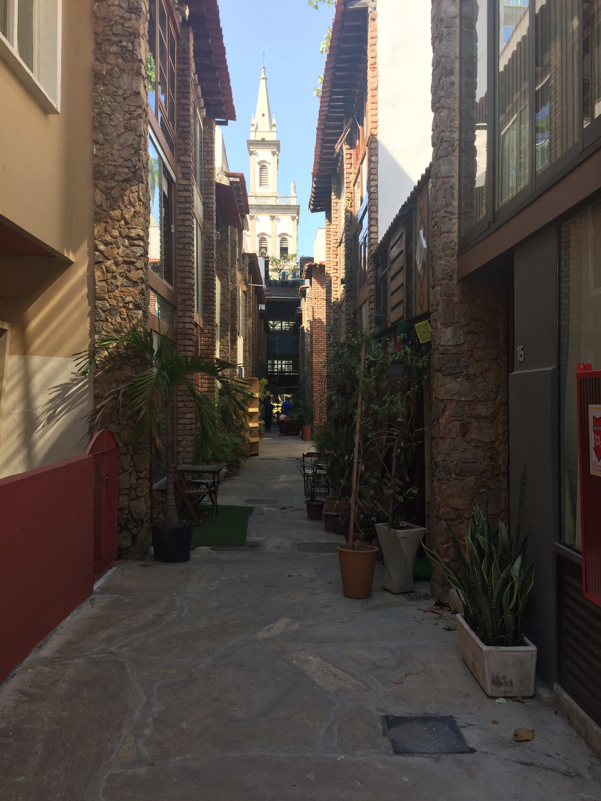 This alley shows off the small businesses, art galleries, and Cafe Secreto that juts out of it
