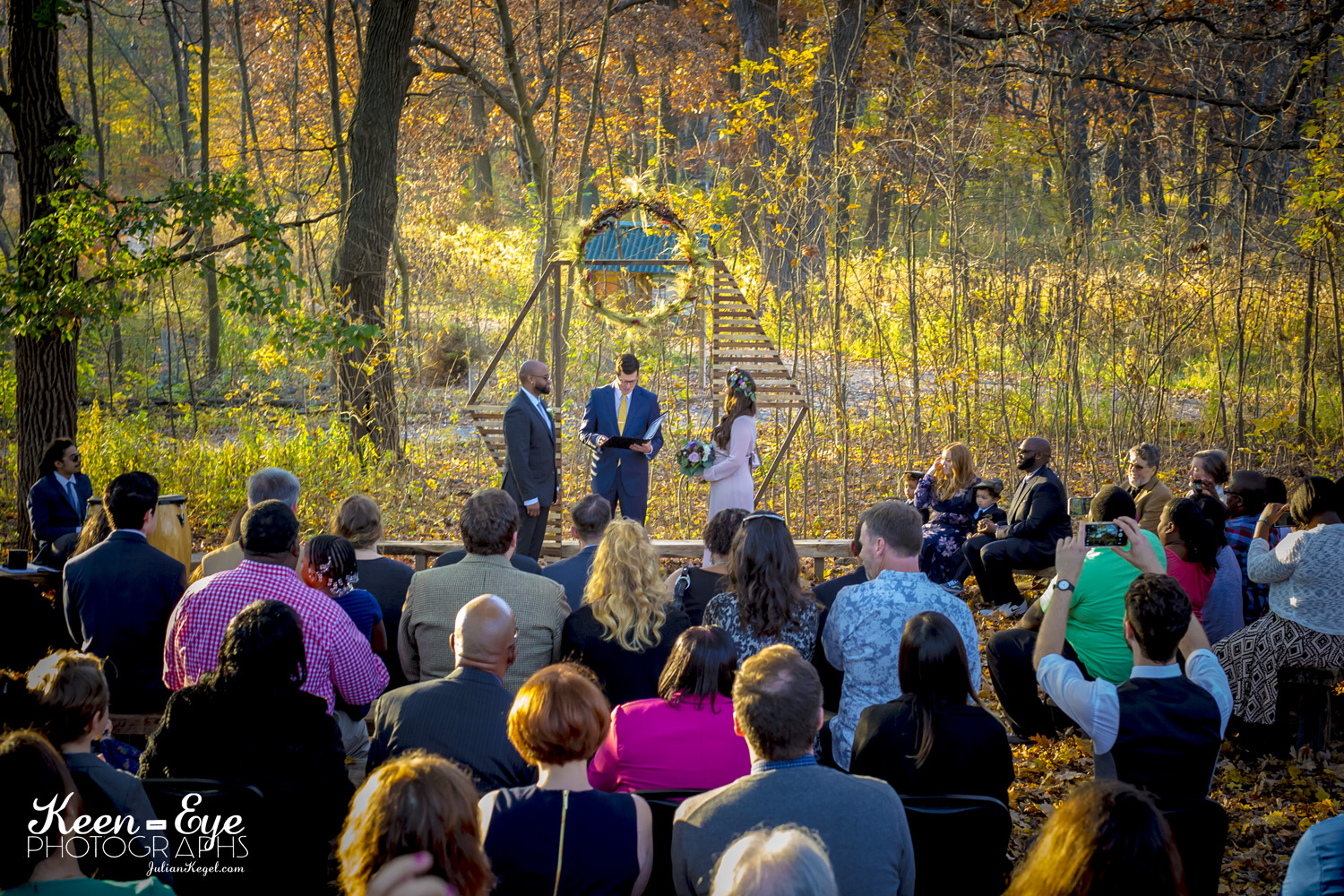 Oscar & Clare celebrate their union in the old-growth woods surrounding the Urban Ecology Center in Milwaukee, WI