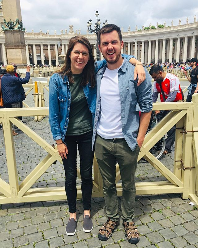 "Vatican-ing with our complimentary outfits. Still not ""his and hers."" #brother #sister #vatican"