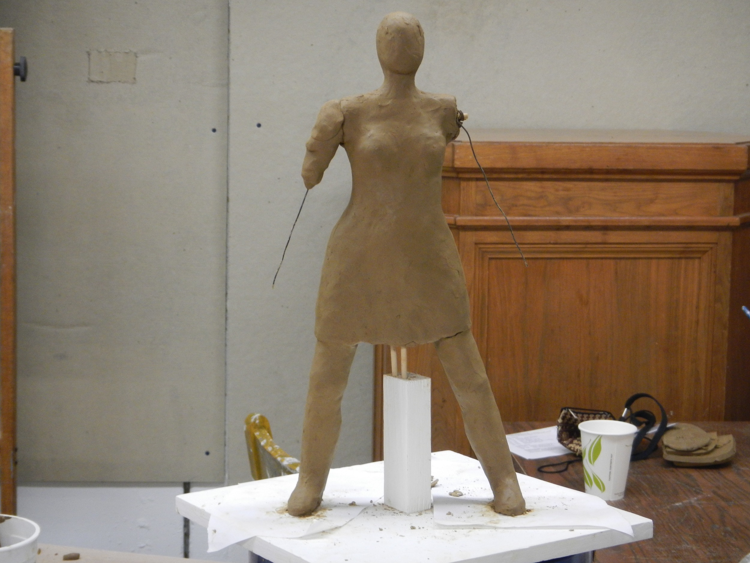 (Donna Polseno figure on its armature; it gets a skirt and the very rough beginning of an arm.)