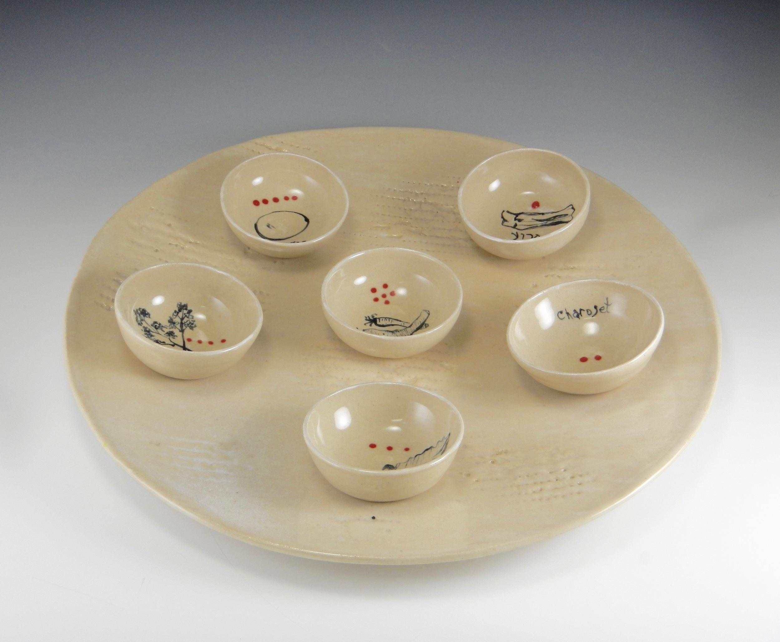 "(Seder Plate, 17"" in diameter, handbuilt, wheel-thrown, textured and freely drawn. 2016 Mimi Stadler Pottery)"