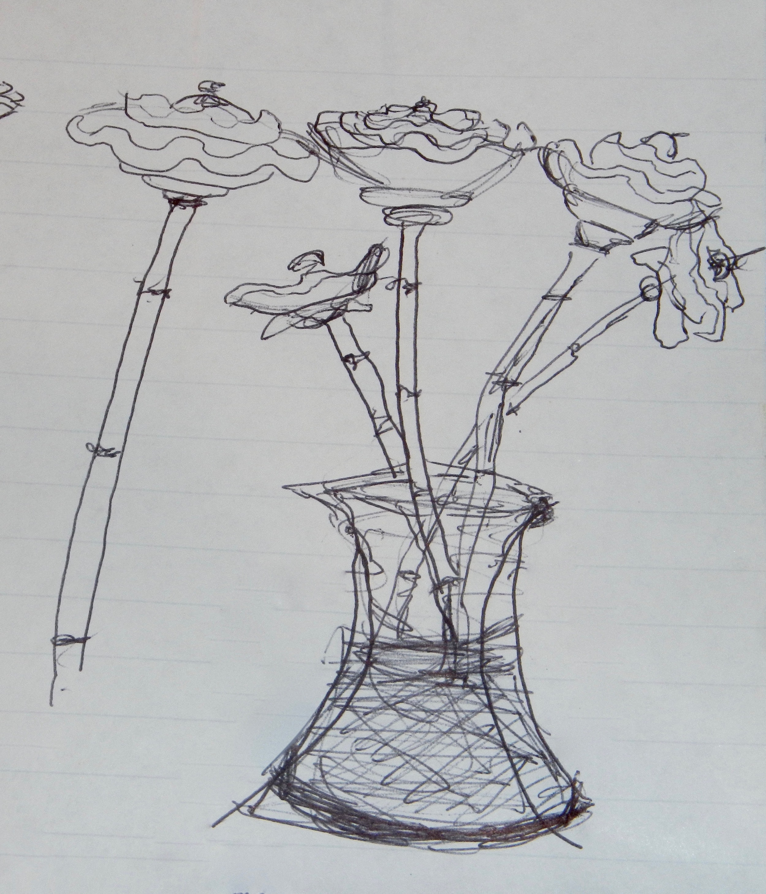(Sketching a stoneware & bamboo flower idea. Mimi Stadler 2016)
