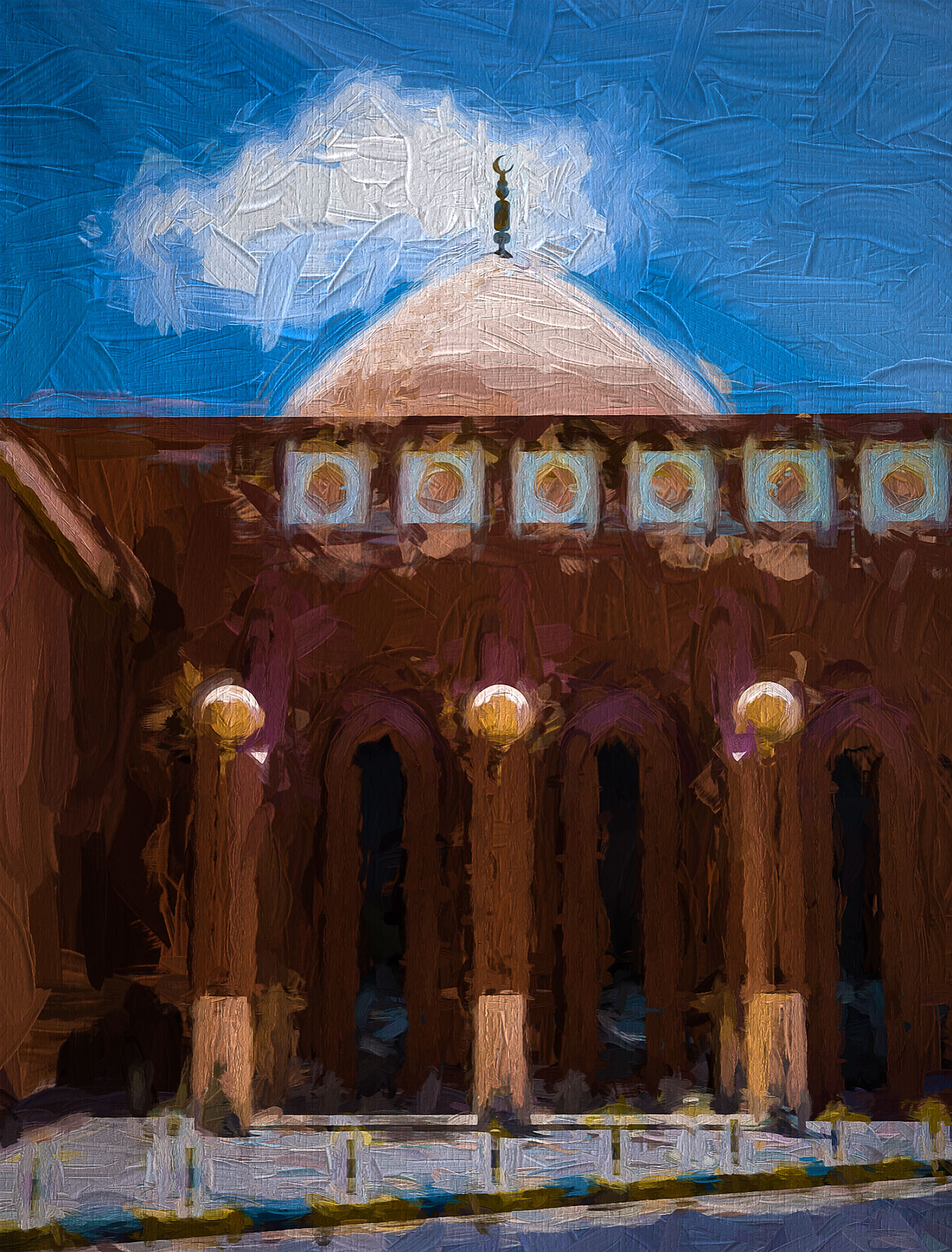 Painterly Mosque with Cloud
